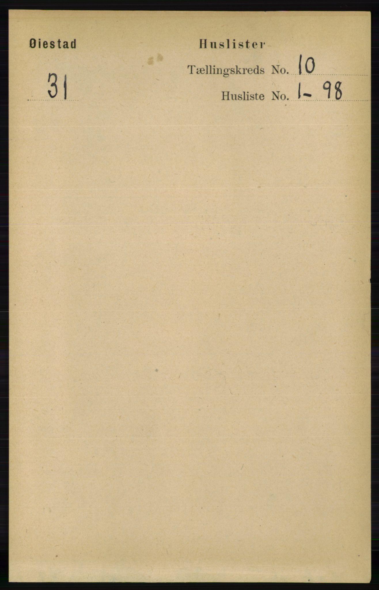 RA, Folketelling 1891 for 0920 Øyestad herred, 1891, s. 4066