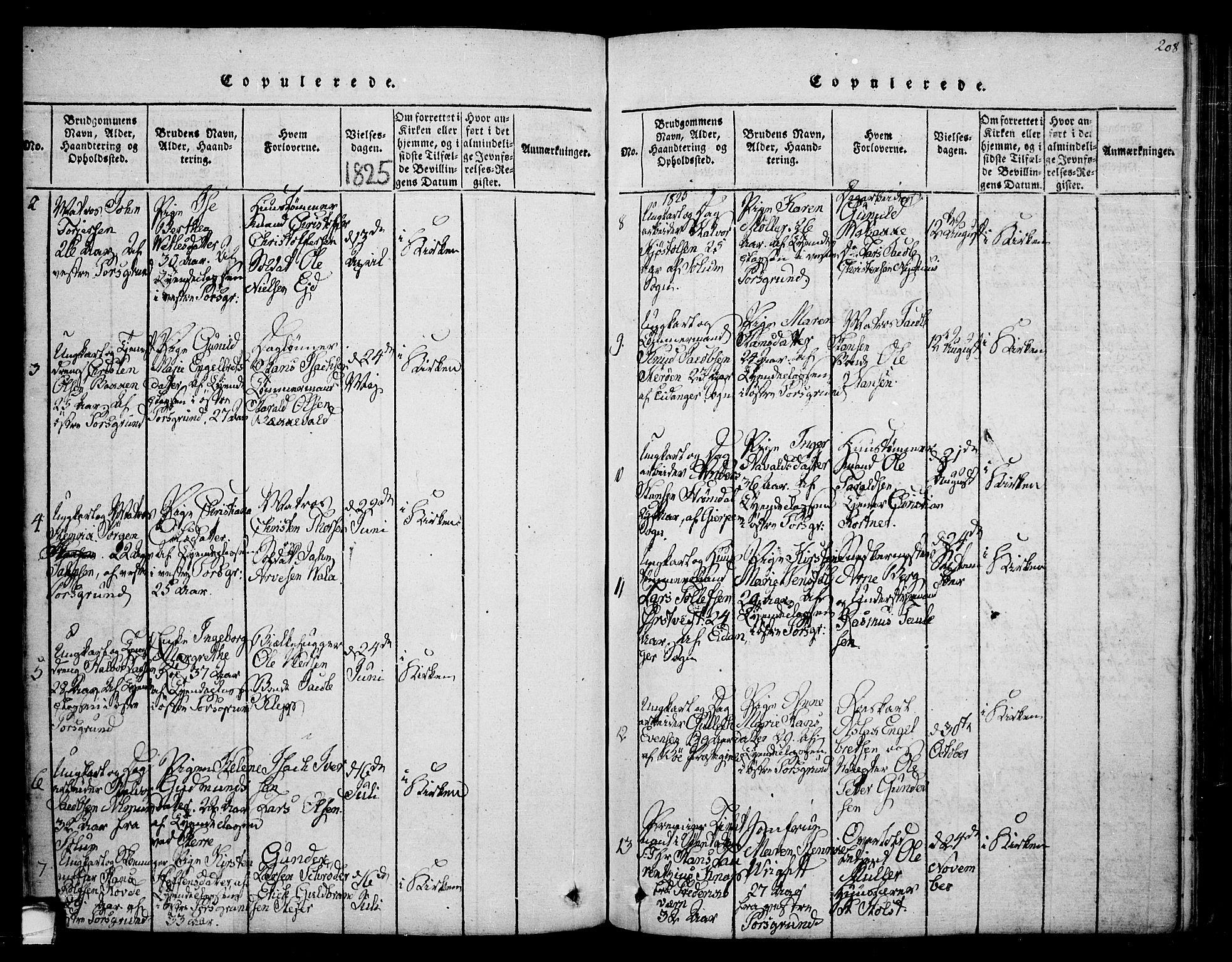 SAKO, Porsgrunn kirkebøker , F/Fa/L0004: Ministerialbok nr. 4, 1814-1828, s. 208