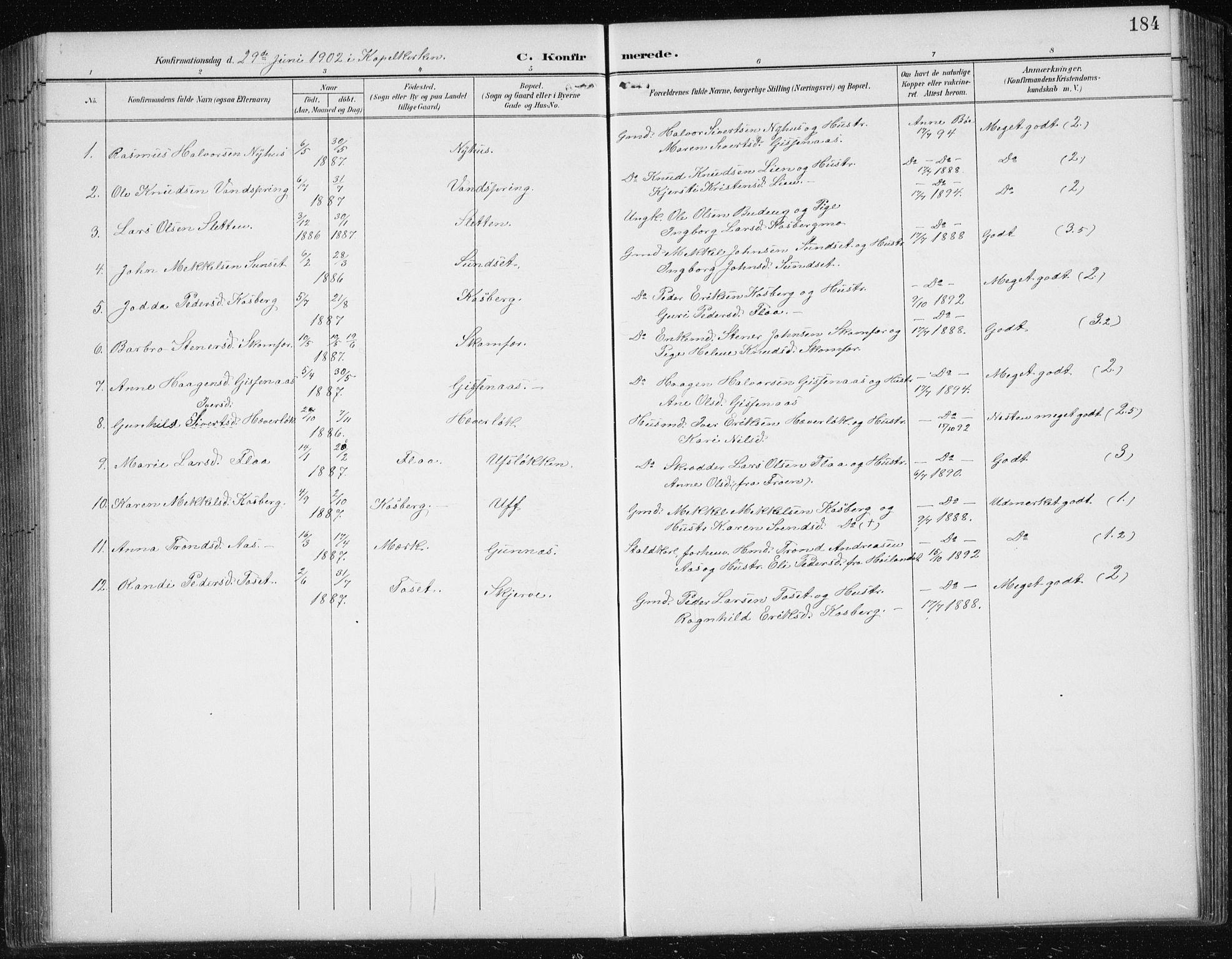 SAT, Ministerialprotokoller, klokkerbøker og fødselsregistre - Sør-Trøndelag, 674/L0876: Klokkerbok nr. 674C03, 1892-1912, s. 184