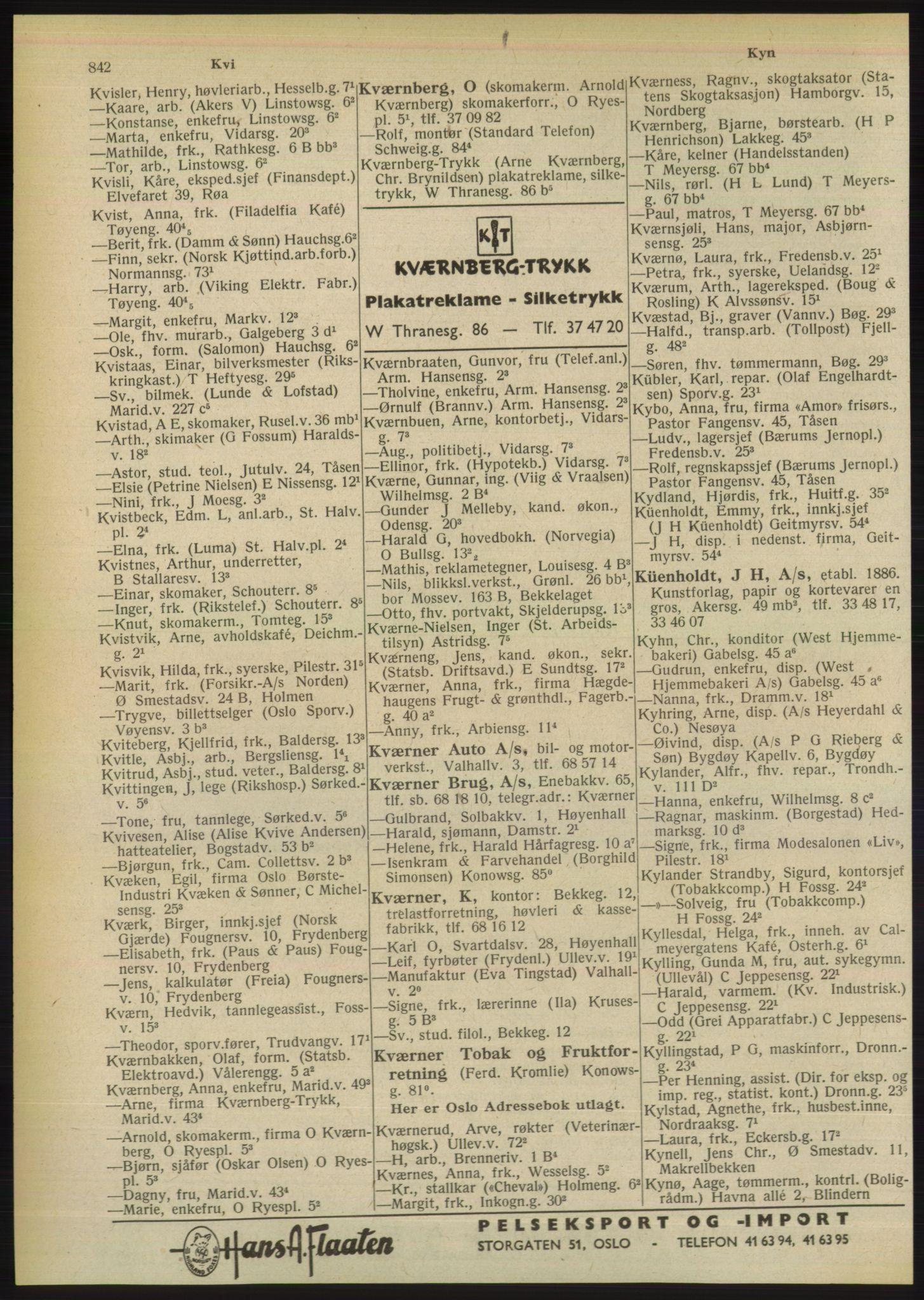 PUBL, Kristiania/Oslo adressebok, 1949, s. 842