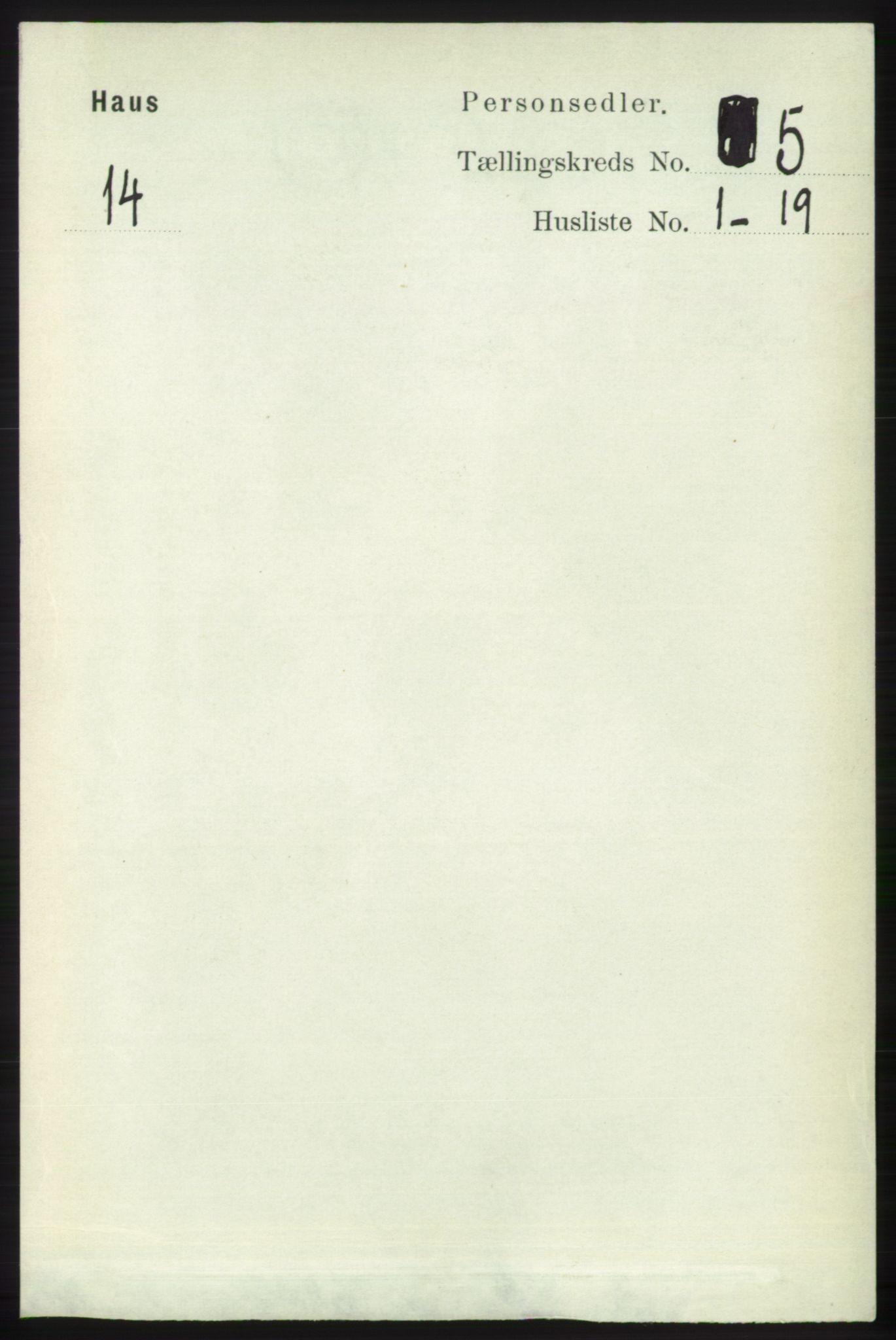 RA, Folketelling 1891 for 1250 Haus herred, 1891, s. 1821