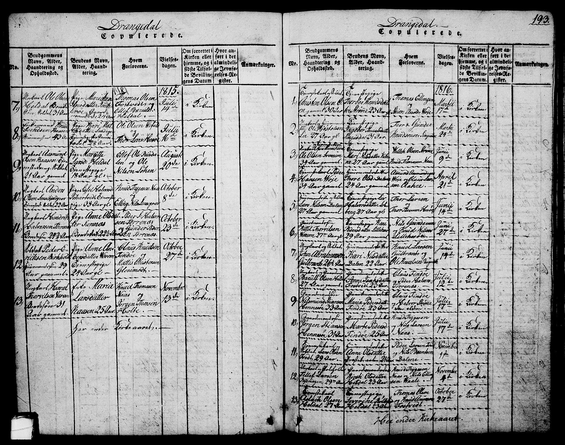 SAKO, Drangedal kirkebøker, G/Ga/L0001: Klokkerbok nr. I 1 /1, 1814-1856, s. 193