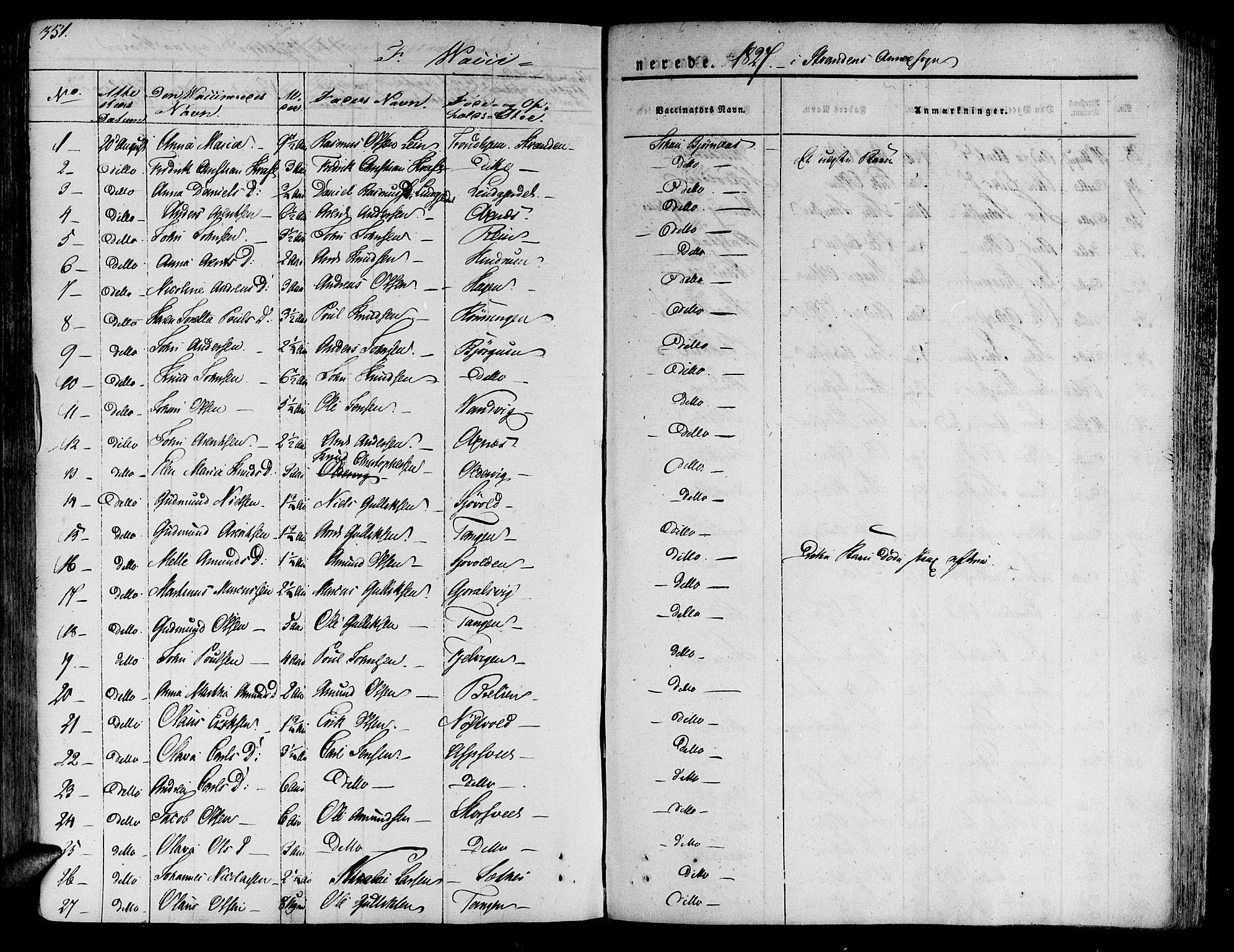 SAT, Ministerialprotokoller, klokkerbøker og fødselsregistre - Nord-Trøndelag, 701/L0006: Ministerialbok nr. 701A06, 1825-1841, s. 351