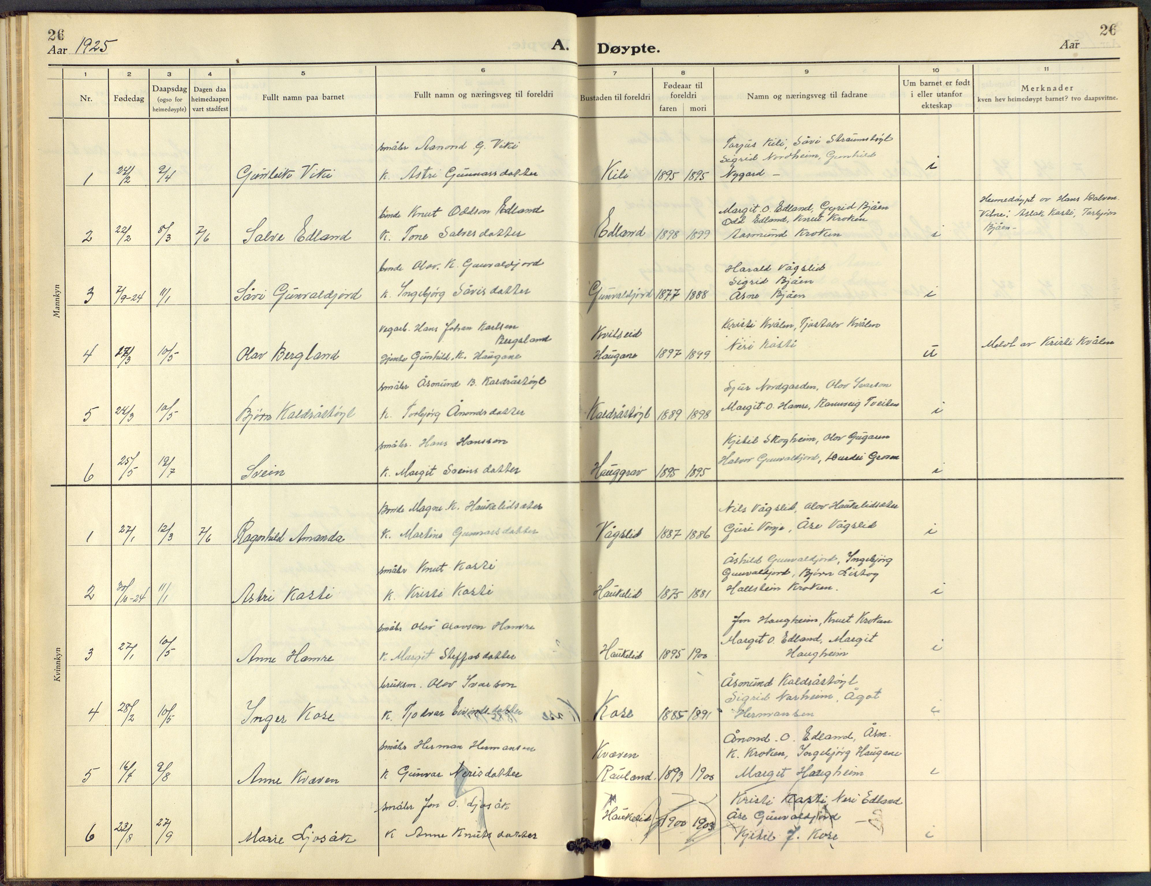 SAKO, Vinje kirkebøker, F/Fc/L0001: Ministerialbok nr. III 1, 1921-1943, s. 26