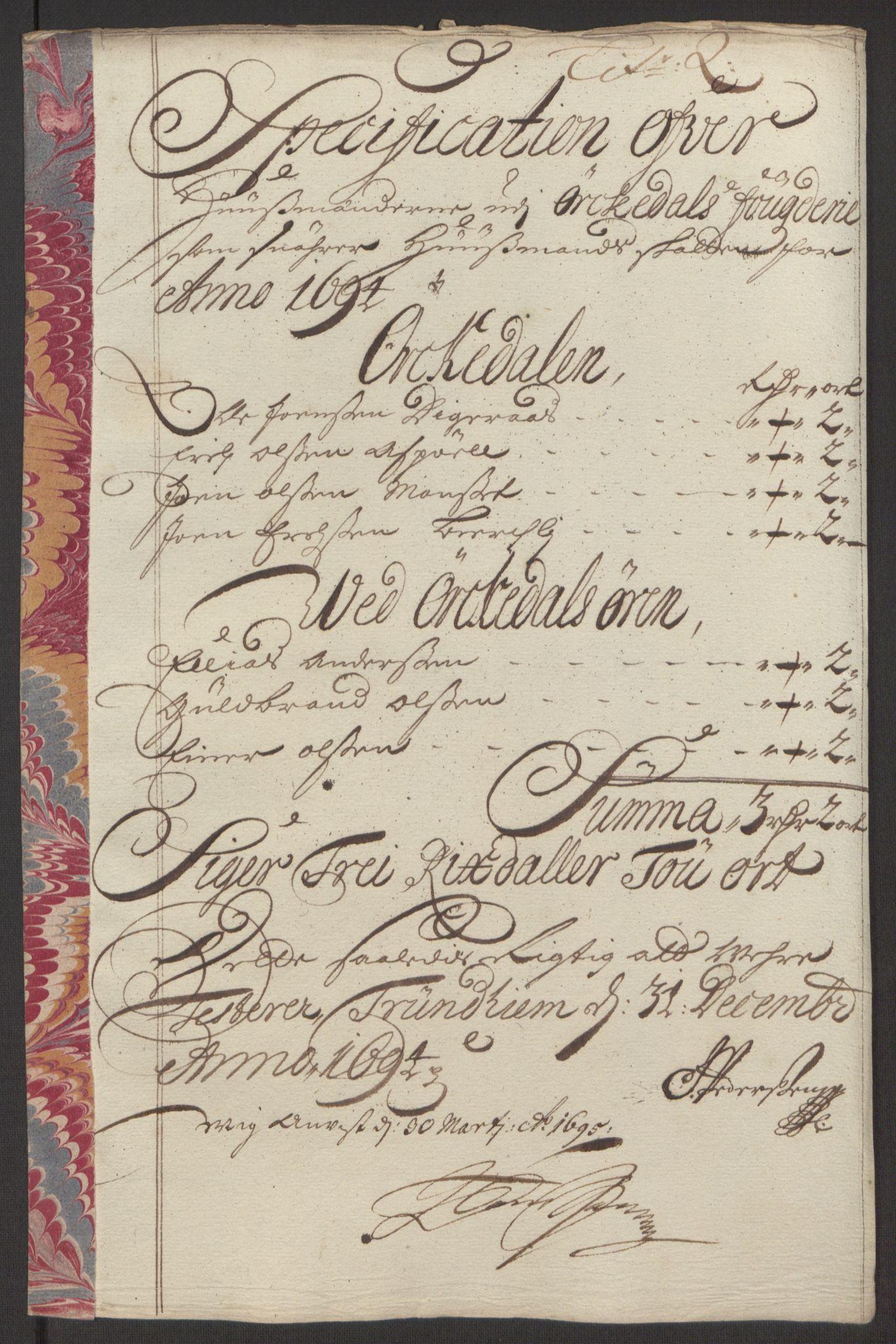 RA, Rentekammeret inntil 1814, Reviderte regnskaper, Fogderegnskap, R60/L3944: Fogderegnskap Orkdal og Gauldal, 1694, s. 173