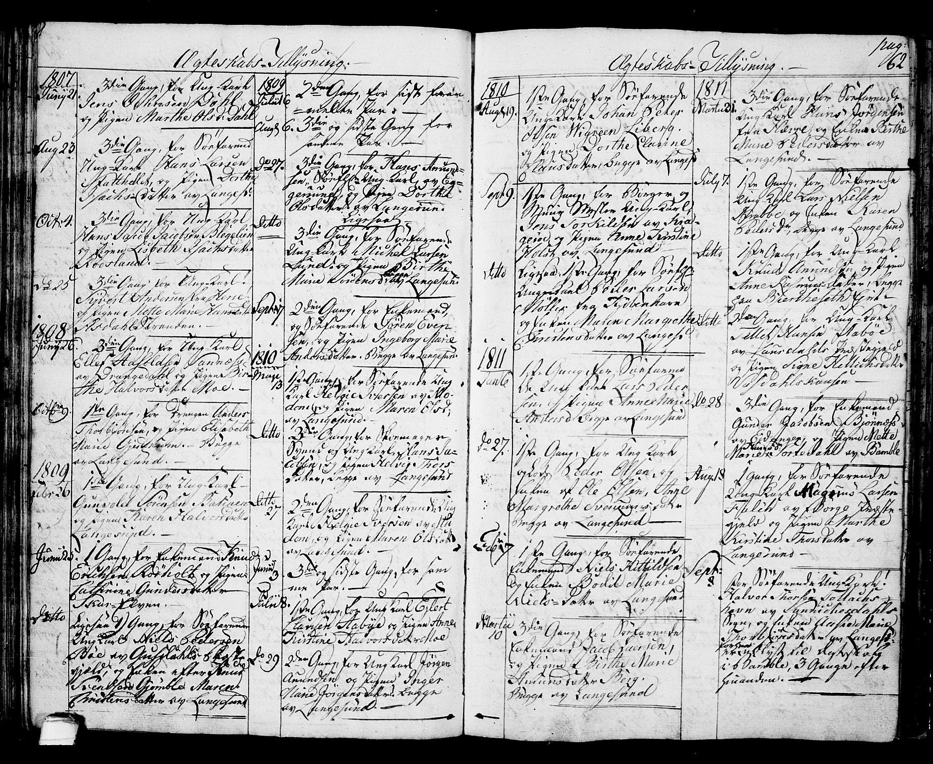 SAKO, Langesund kirkebøker, G/Ga/L0002: Klokkerbok nr. 2, 1801-1815, s. 62