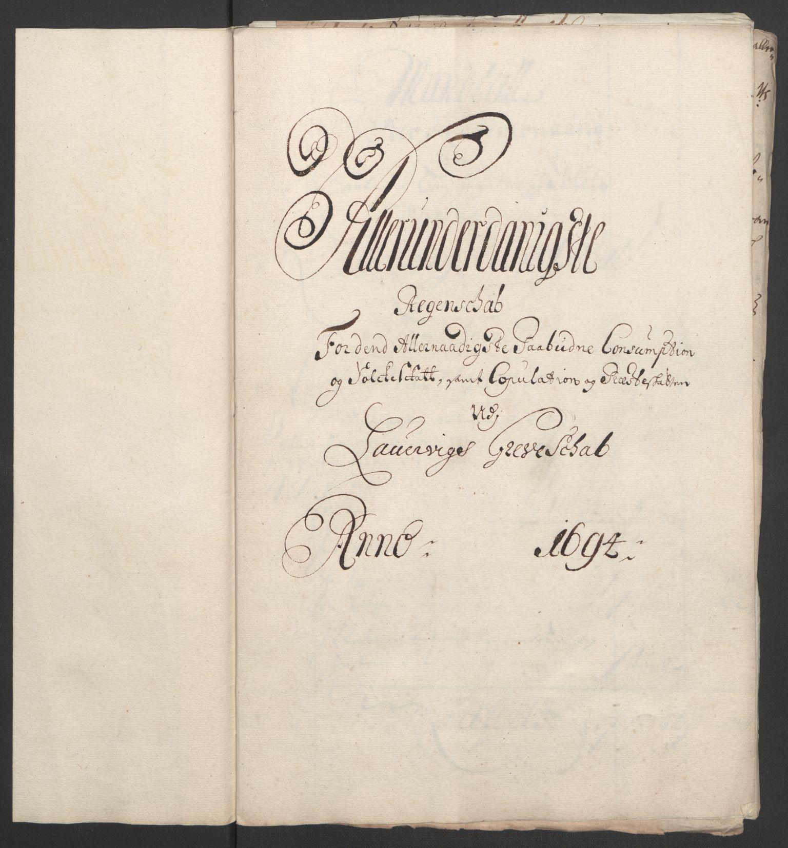 RA, Rentekammeret inntil 1814, Reviderte regnskaper, Fogderegnskap, R33/L1974: Fogderegnskap Larvik grevskap, 1693-1695, s. 150