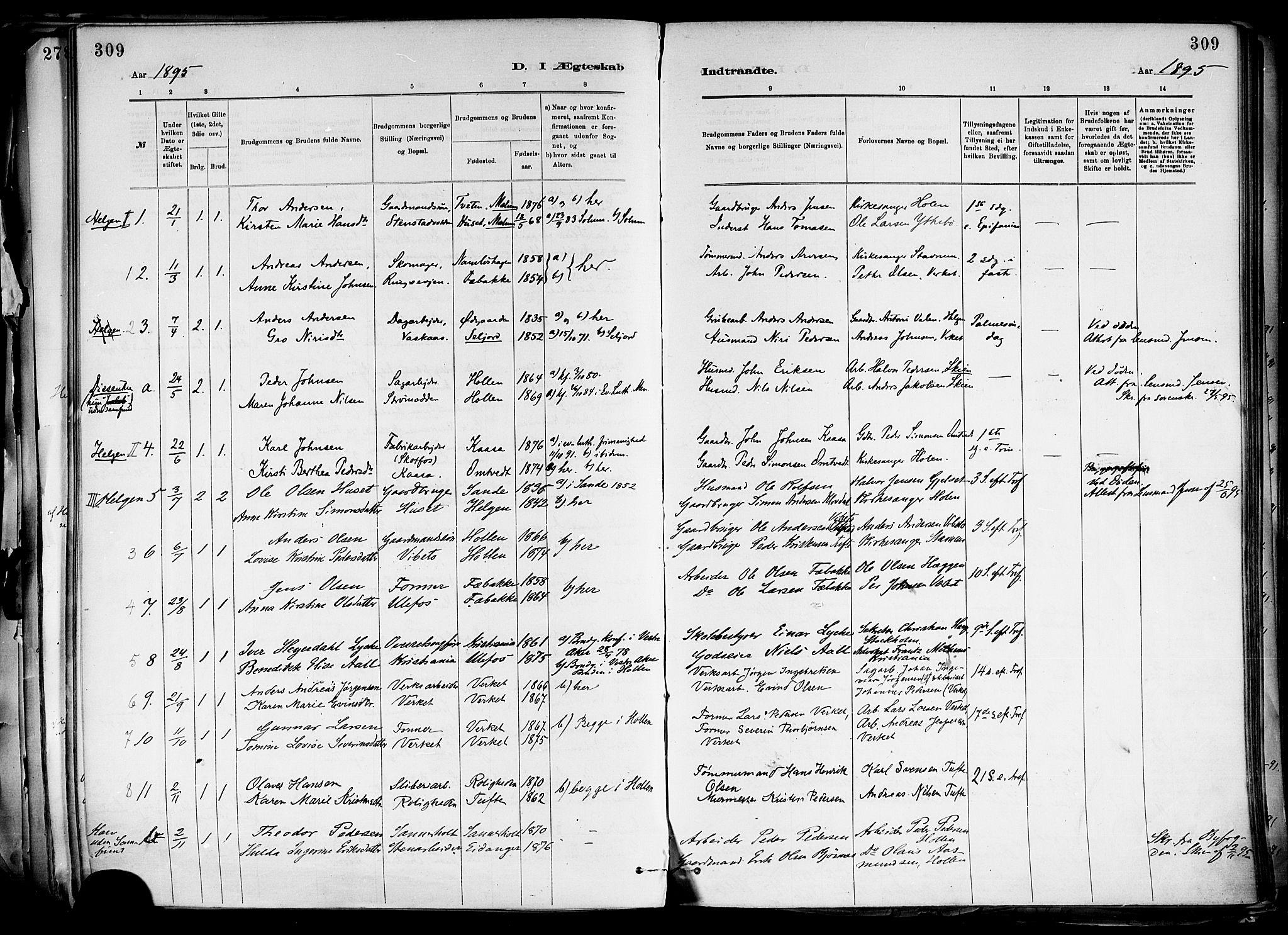 SAKO, Holla kirkebøker, F/Fa/L0008: Ministerialbok nr. 8, 1882-1897, s. 309