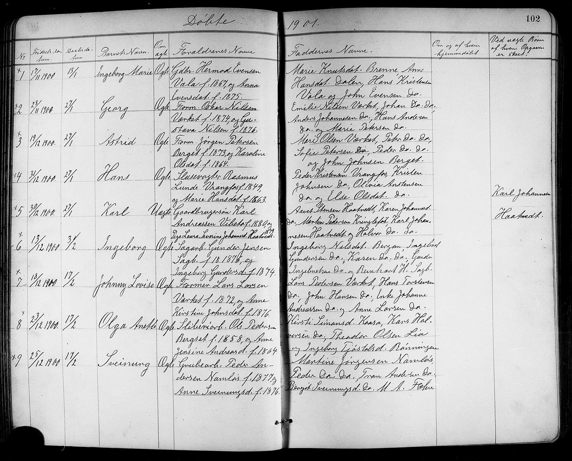 SAKO, Holla kirkebøker, G/Ga/L0005: Klokkerbok nr. I 5, 1891-1917, s. 102