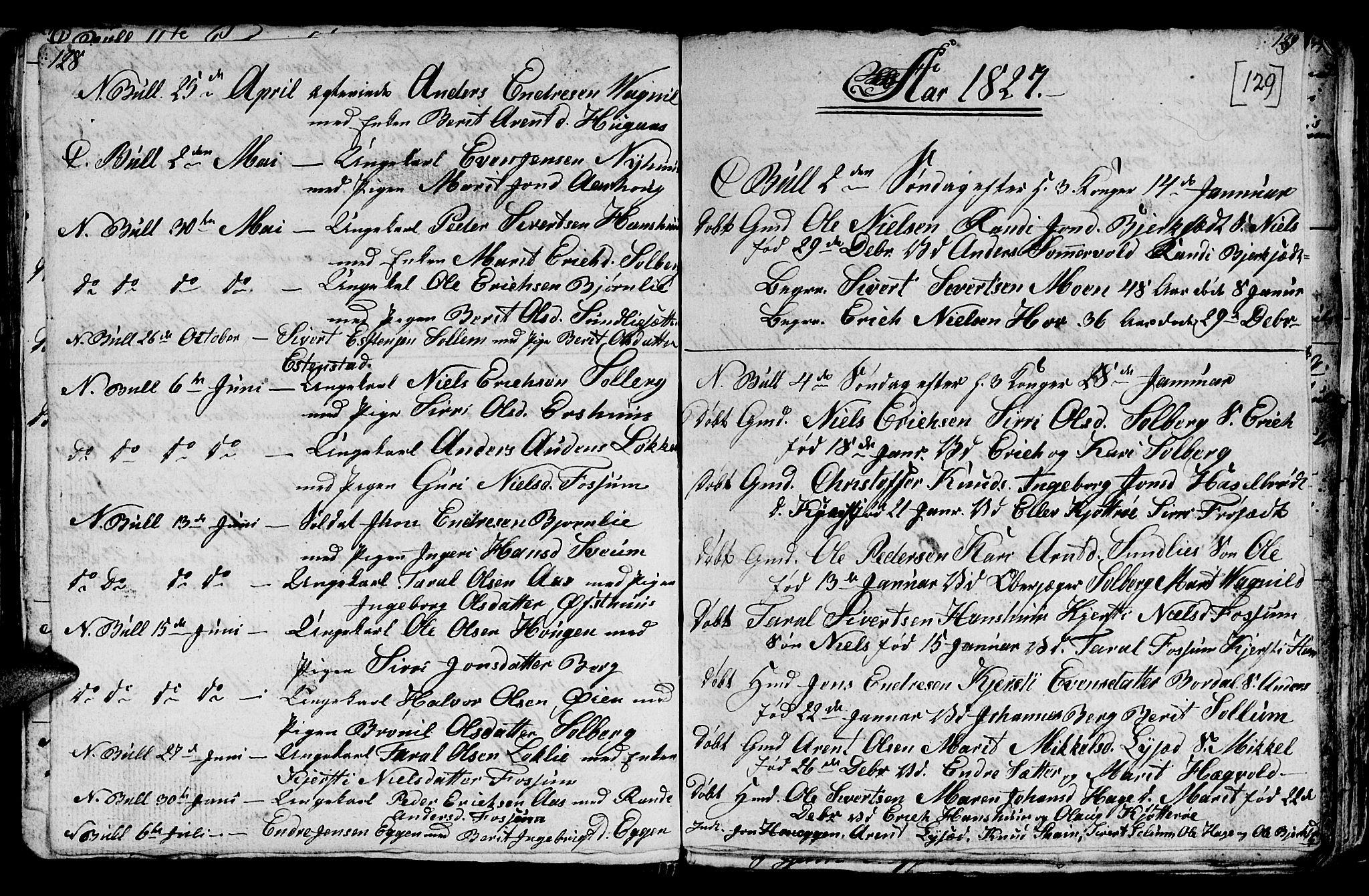 SAT, Ministerialprotokoller, klokkerbøker og fødselsregistre - Sør-Trøndelag, 689/L1042: Klokkerbok nr. 689C01, 1812-1841, s. 128-129