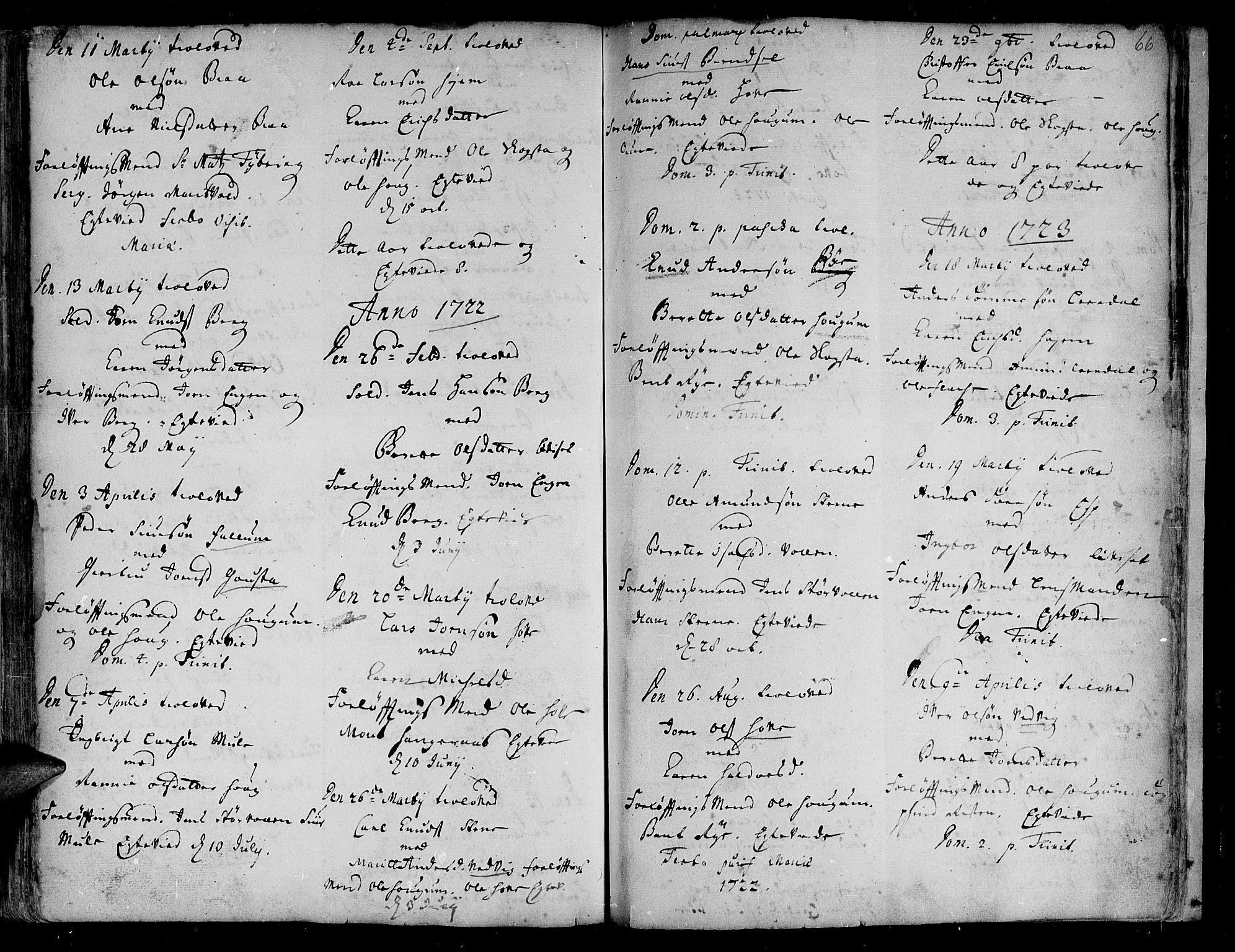 SAT, Ministerialprotokoller, klokkerbøker og fødselsregistre - Sør-Trøndelag, 612/L0368: Ministerialbok nr. 612A02, 1702-1753, s. 66