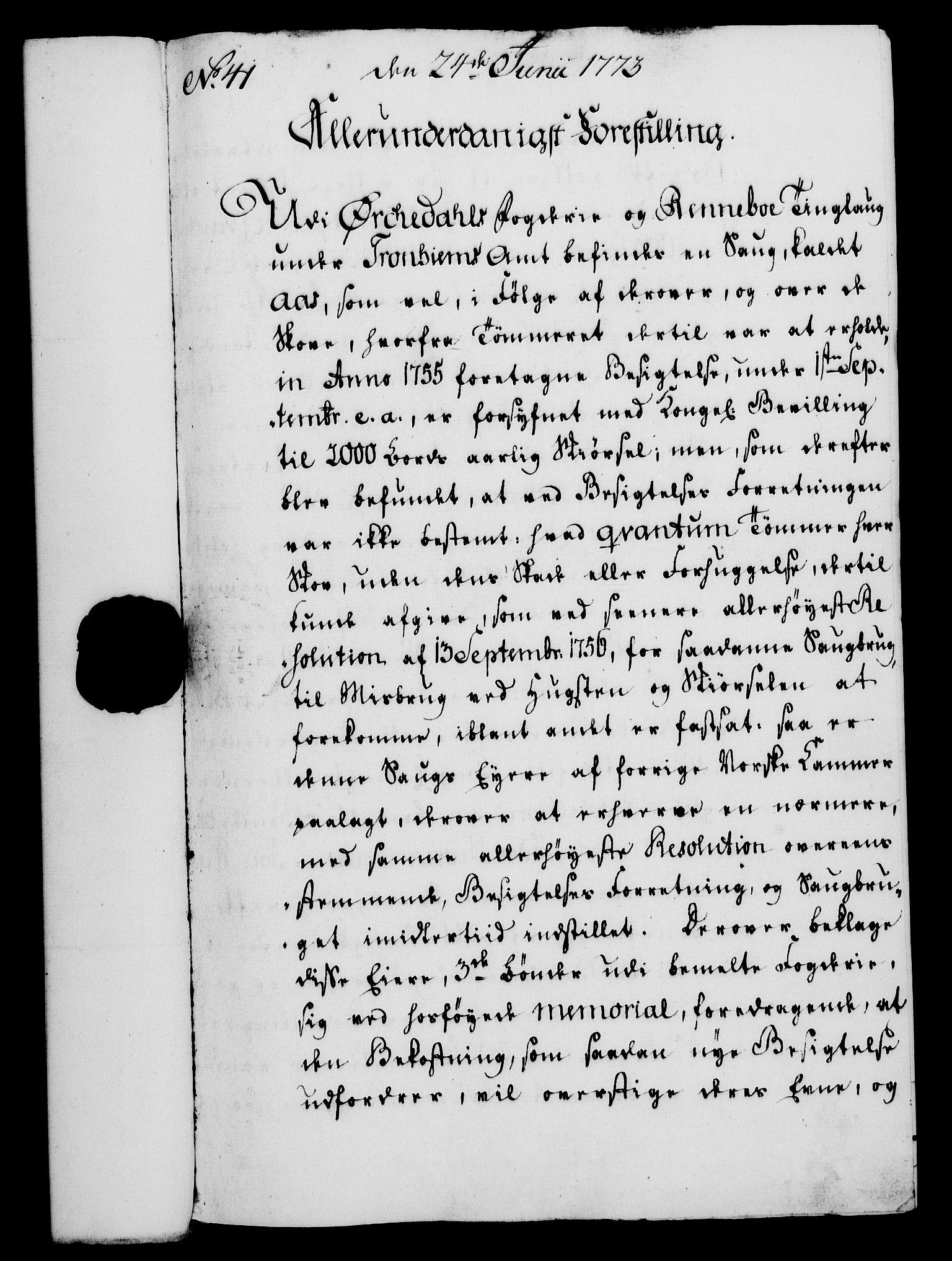 RA, Rentekammeret, Kammerkanselliet, G/Gf/Gfa/L0055: Norsk relasjons- og resolusjonsprotokoll (merket RK 52.55), 1773, s. 154