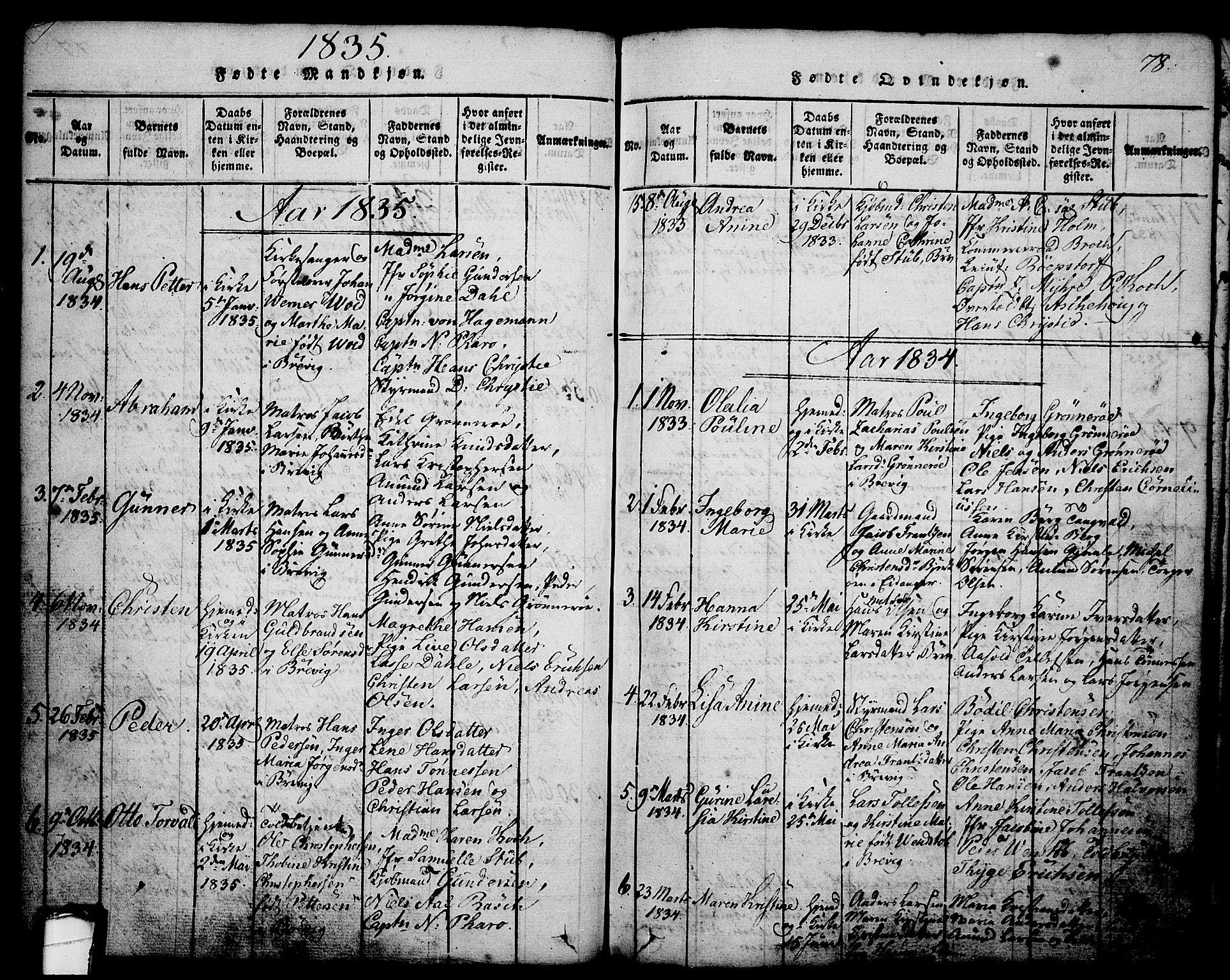 SAKO, Brevik kirkebøker, G/Ga/L0001: Klokkerbok nr. 1, 1814-1845, s. 78