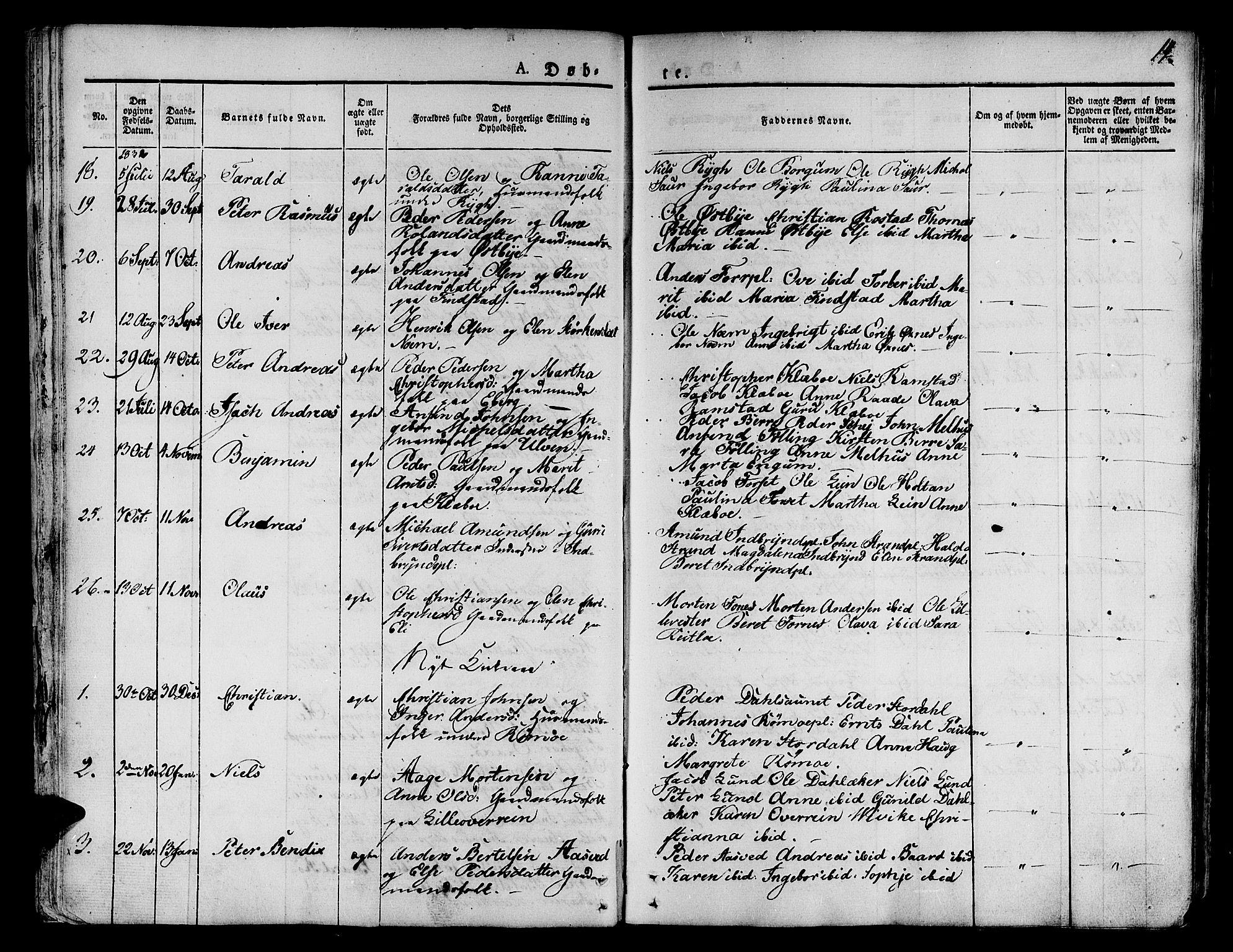 SAT, Ministerialprotokoller, klokkerbøker og fødselsregistre - Nord-Trøndelag, 746/L0445: Ministerialbok nr. 746A04, 1826-1846, s. 14