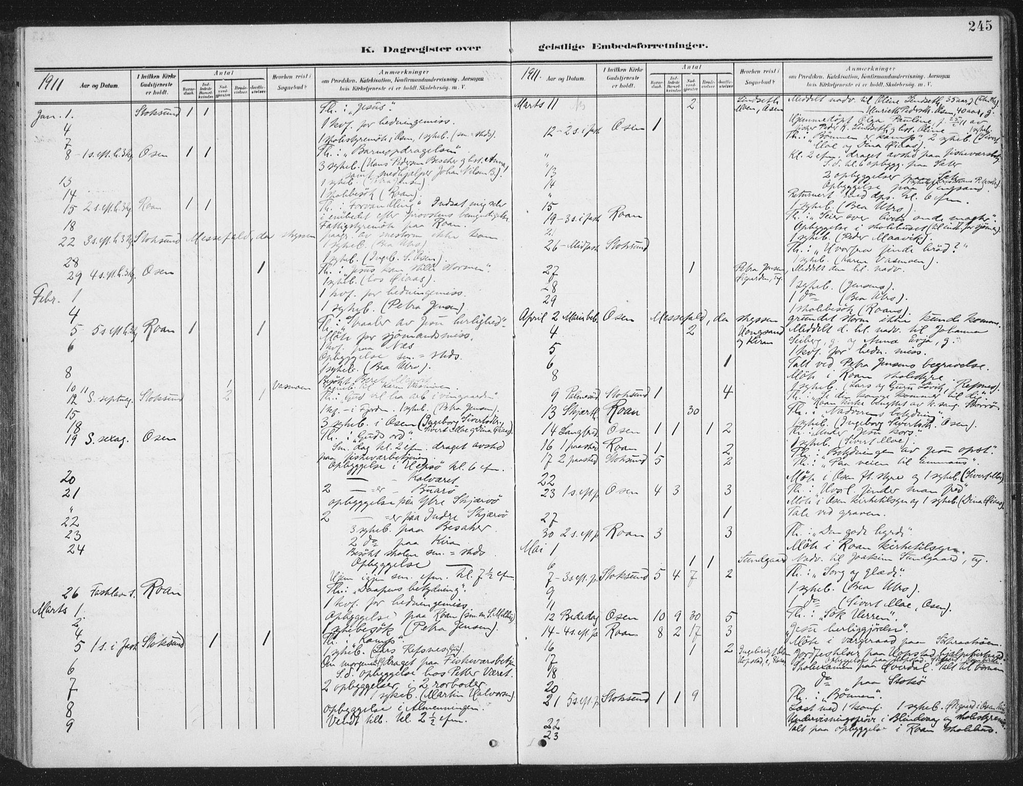 SAT, Ministerialprotokoller, klokkerbøker og fødselsregistre - Sør-Trøndelag, 657/L0709: Ministerialbok nr. 657A10, 1905-1919, s. 245