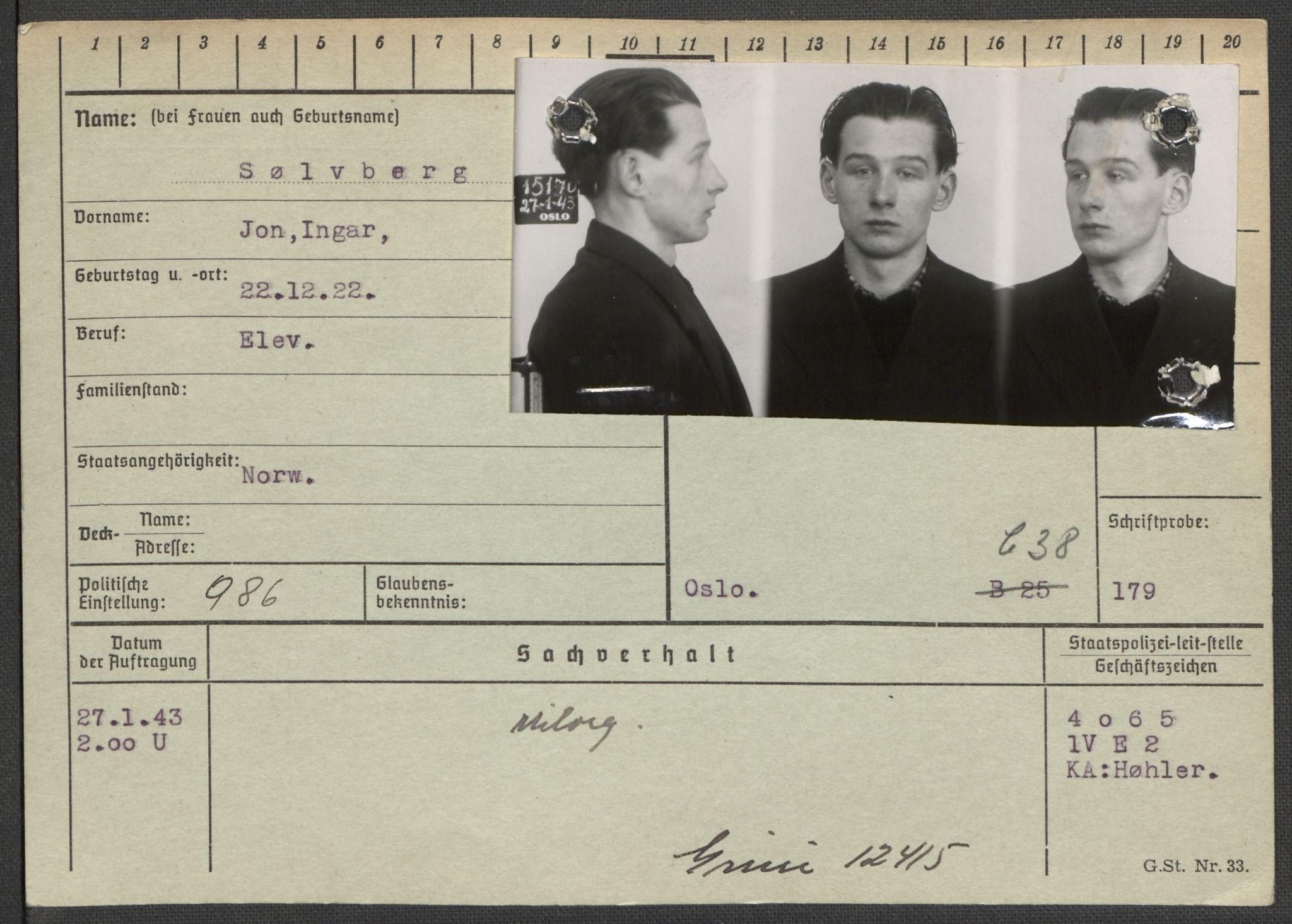 RA, Befehlshaber der Sicherheitspolizei und des SD, E/Ea/Eaa/L0010: Register over norske fanger i Møllergata 19: Sø-Å, 1940-1945, s. 2
