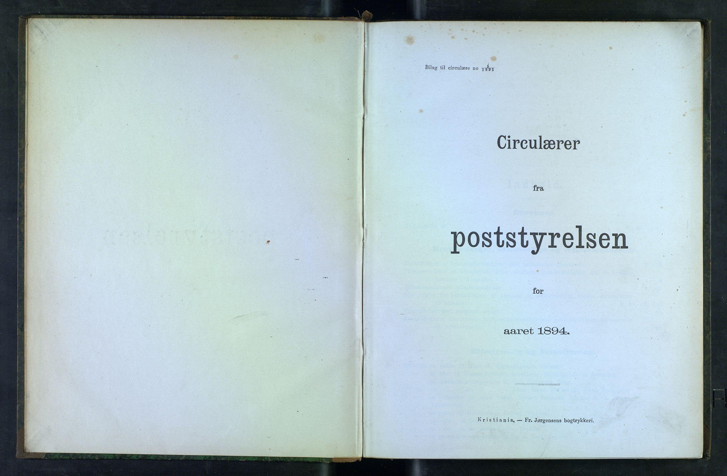 NOPO, Norges Postmuseums bibliotek, -/-: Sirkulærer fra Poststyrelsen, 1894
