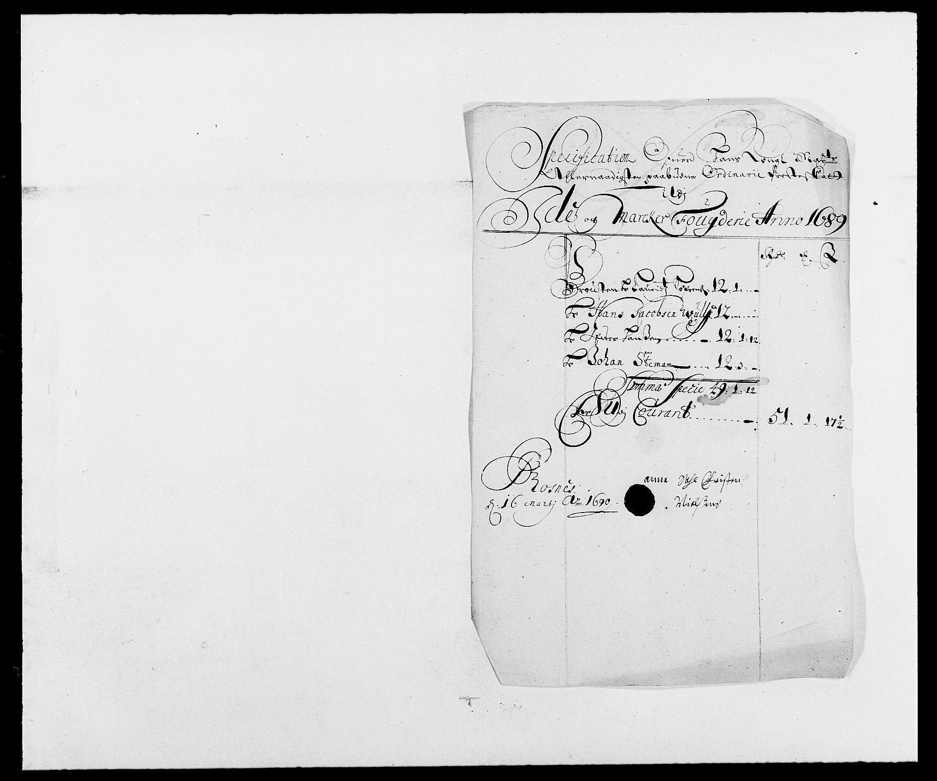 RA, Rentekammeret inntil 1814, Reviderte regnskaper, Fogderegnskap, R01/L0008: Fogderegnskap Idd og Marker, 1689, s. 273