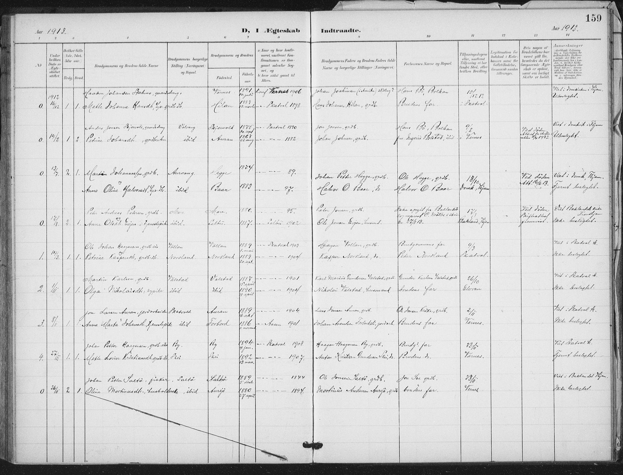 SAT, Ministerialprotokoller, klokkerbøker og fødselsregistre - Nord-Trøndelag, 712/L0101: Ministerialbok nr. 712A02, 1901-1916, s. 159