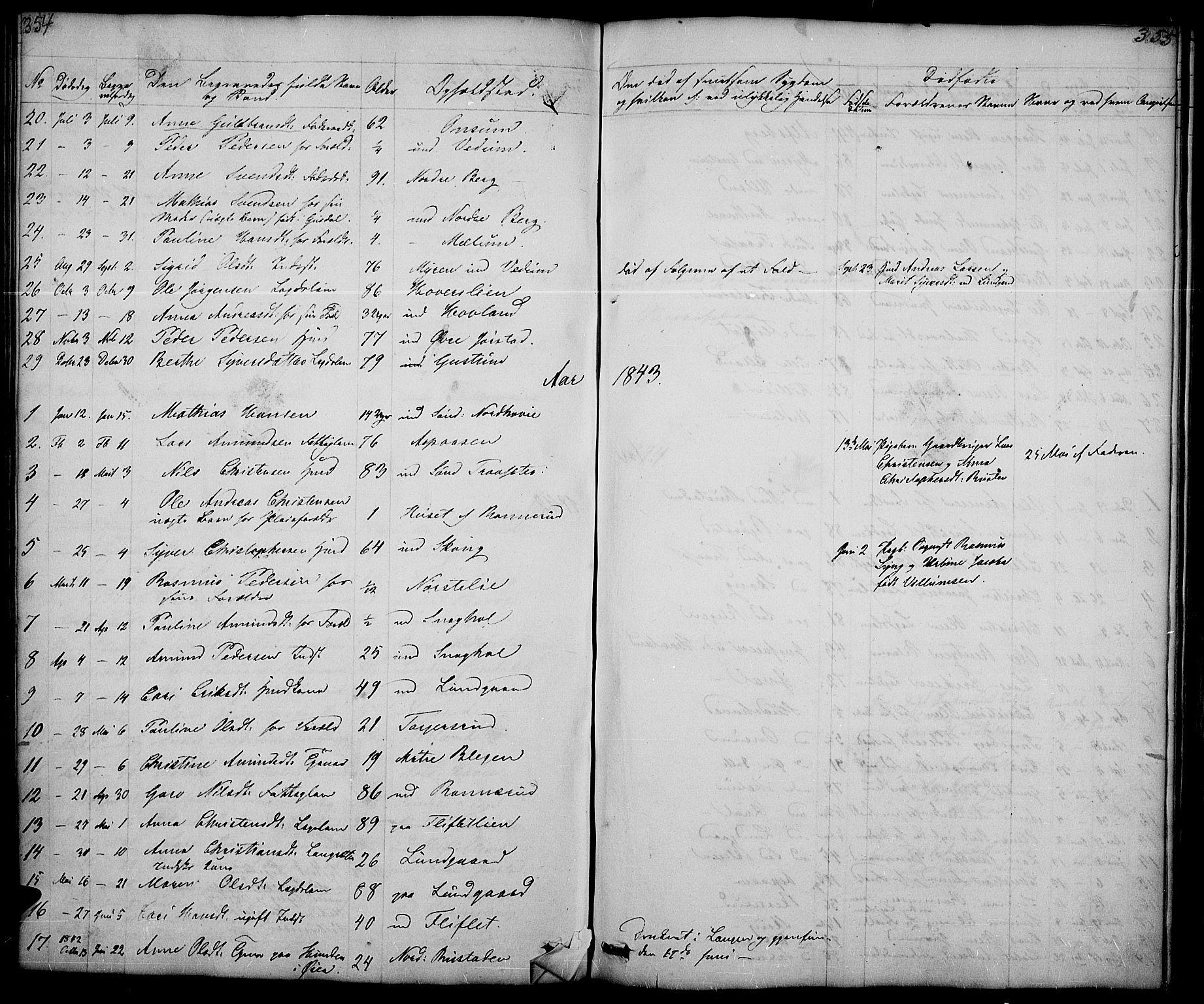 SAH, Fåberg prestekontor, Klokkerbok nr. 5, 1837-1864, s. 354-355