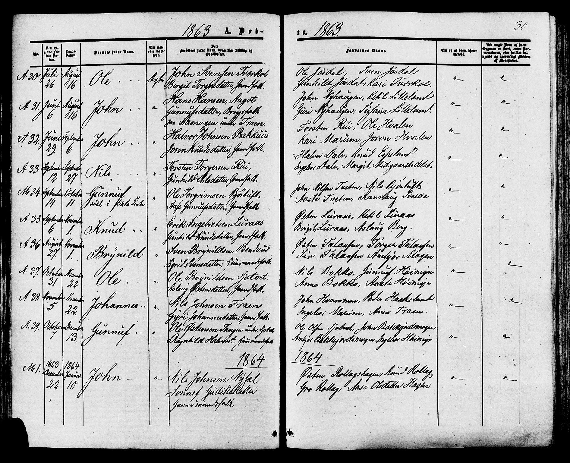 SAKO, Tinn kirkebøker, F/Fa/L0006: Ministerialbok nr. I 6, 1857-1878, s. 30