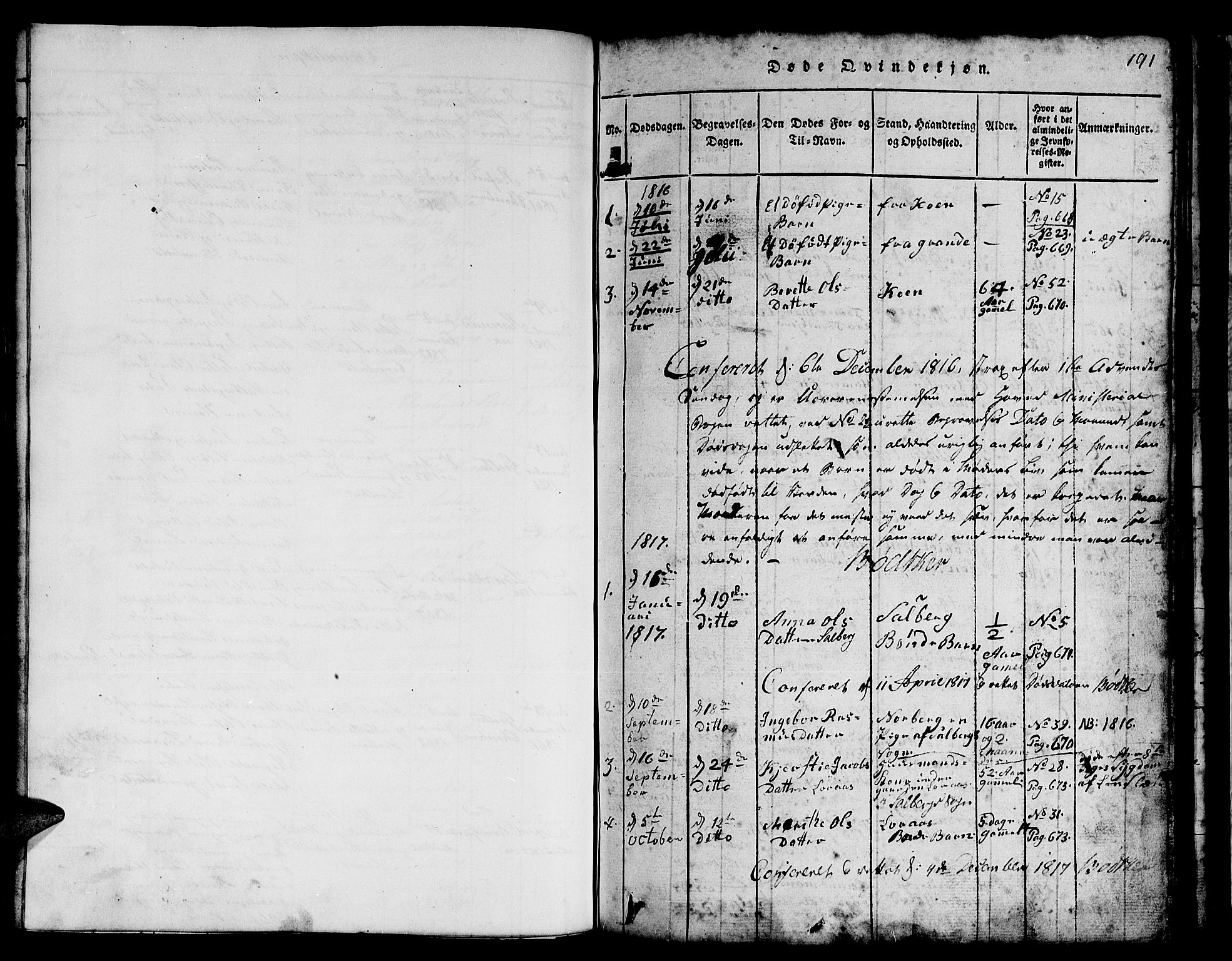 SAT, Ministerialprotokoller, klokkerbøker og fødselsregistre - Nord-Trøndelag, 731/L0310: Klokkerbok nr. 731C01, 1816-1874, s. 190-191