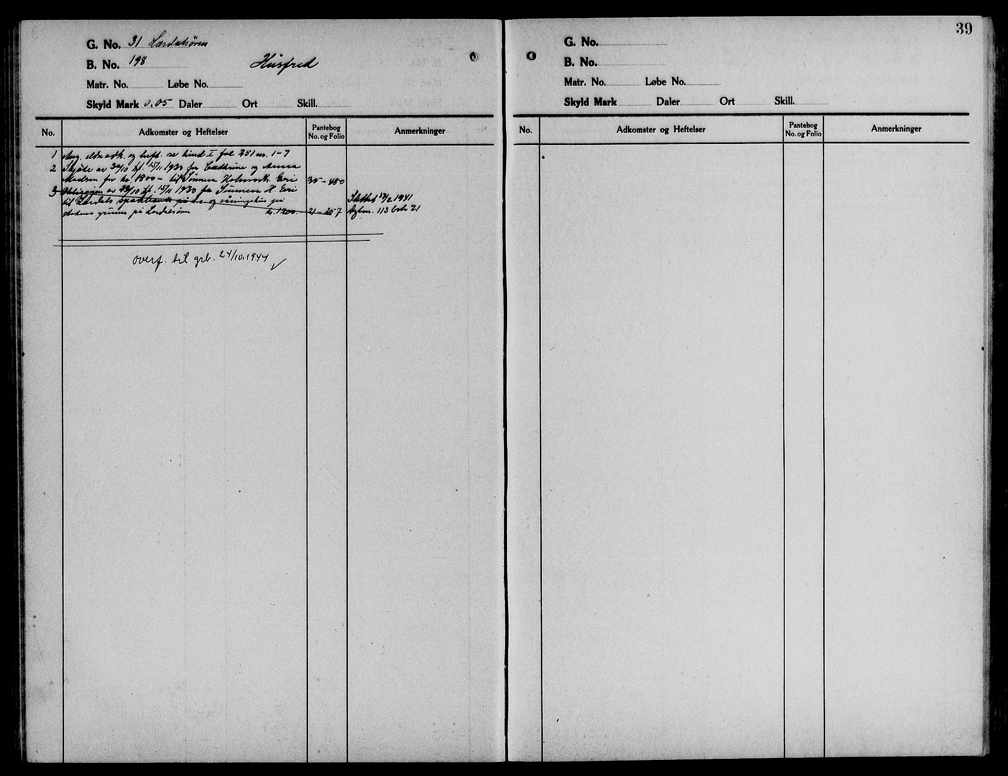 SAB, Indre Sogn sorenskriveri, G/Ga/Gaa/L0017: Panteregister nr. II.A.a.17, 1829-1944, s. 39