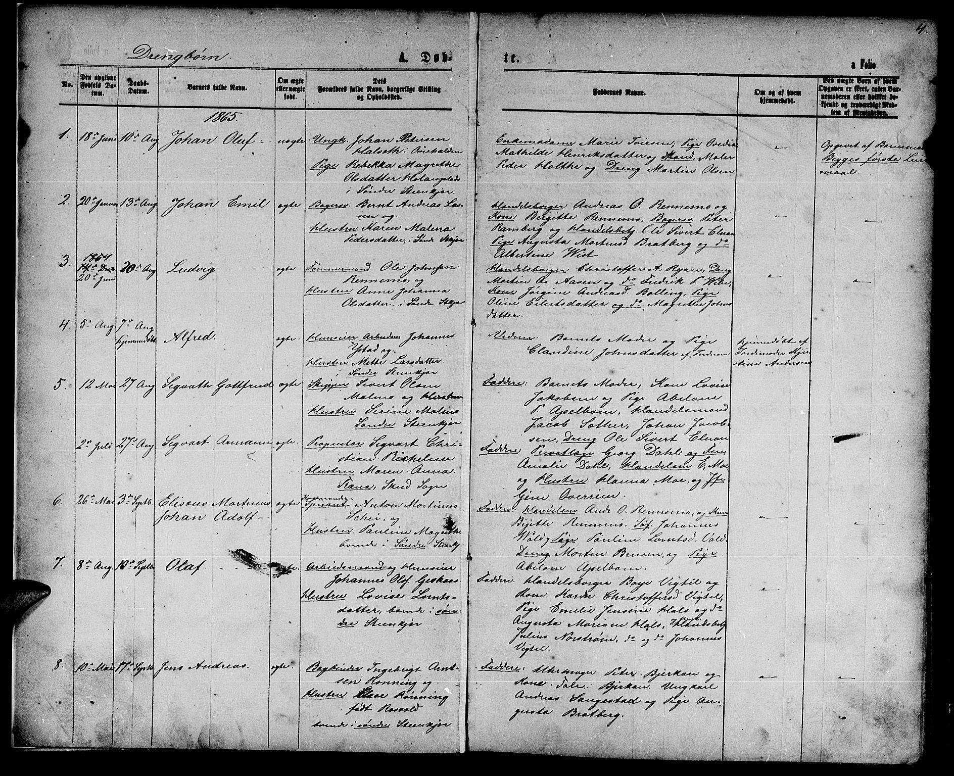 SAT, Ministerialprotokoller, klokkerbøker og fødselsregistre - Nord-Trøndelag, 739/L0373: Klokkerbok nr. 739C01, 1865-1882, s. 4