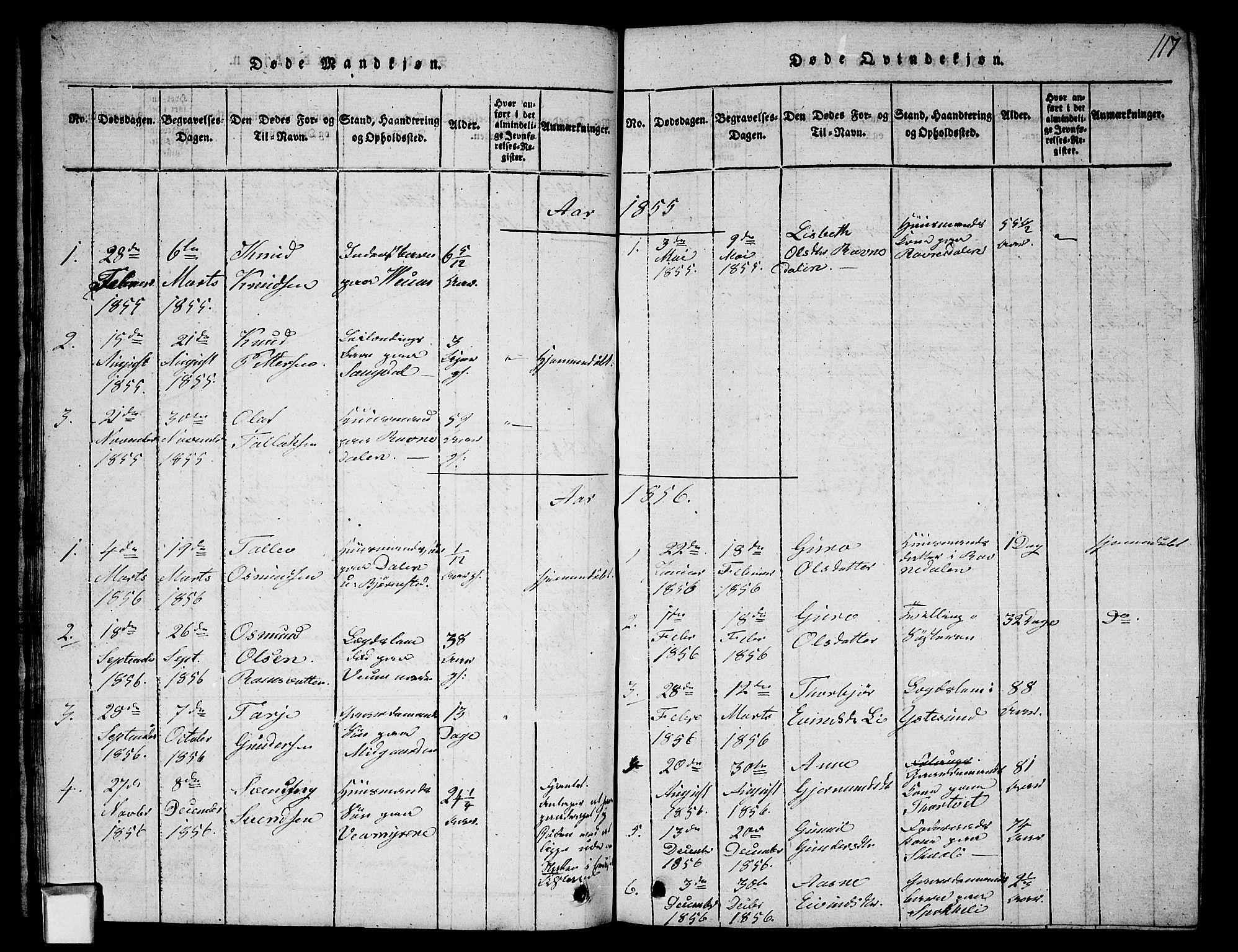 SAKO, Fyresdal kirkebøker, G/Ga/L0003: Klokkerbok nr. I 3, 1815-1863, s. 117