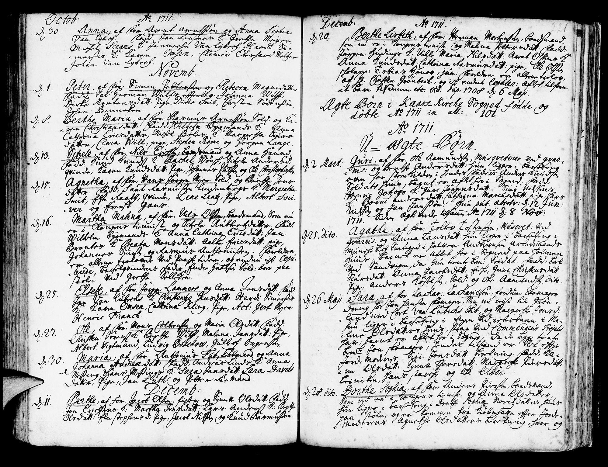 SAB, Korskirken Sokneprestembete, H/Haa/L0003: Ministerialbok nr. A 3, 1698-1719, s. 221