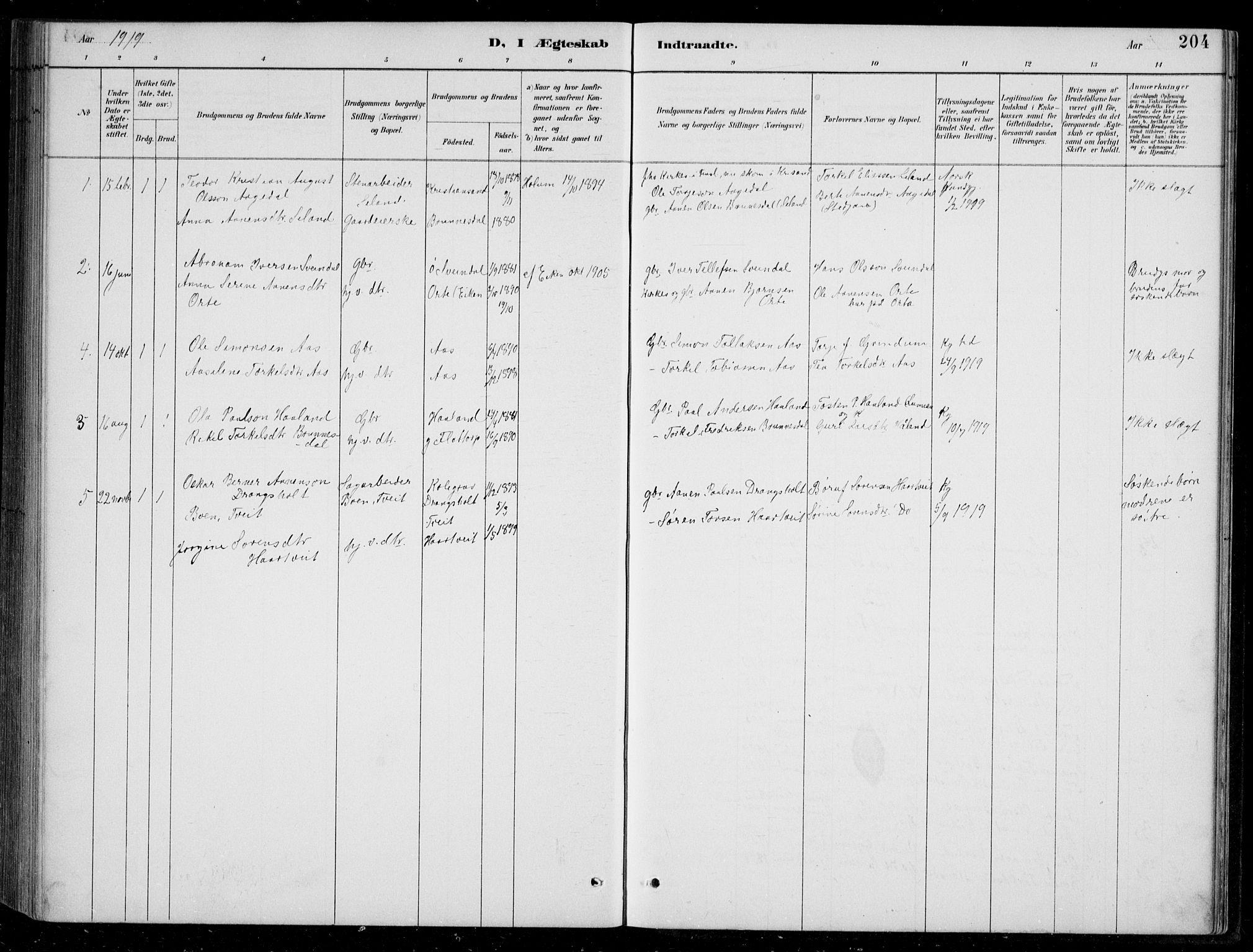 SAK, Bjelland sokneprestkontor, F/Fb/Fbc/L0003: Klokkerbok nr. B 3, 1887-1924, s. 204