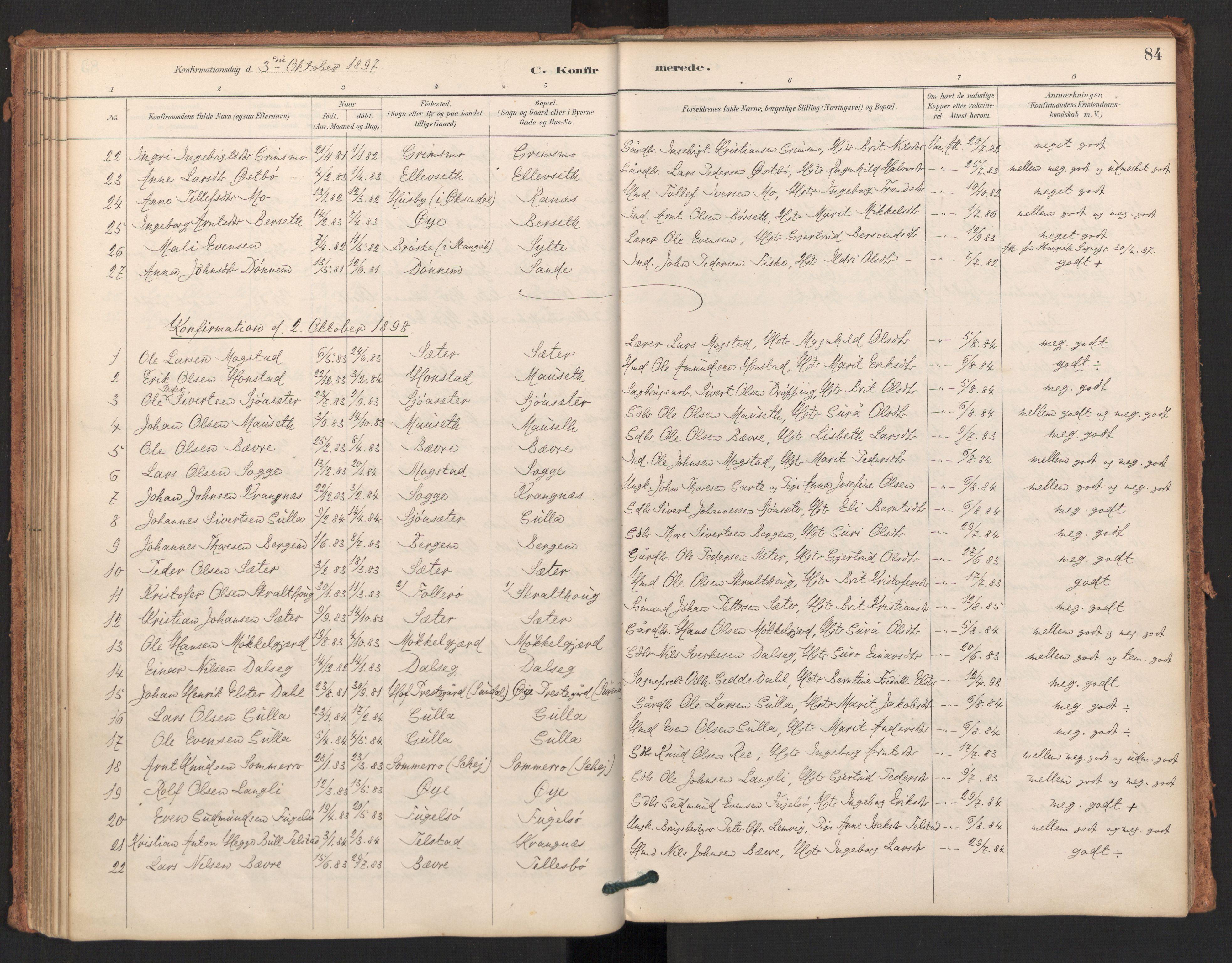 SAT, Ministerialprotokoller, klokkerbøker og fødselsregistre - Møre og Romsdal, 596/L1056: Ministerialbok nr. 596A01, 1885-1900, s. 84