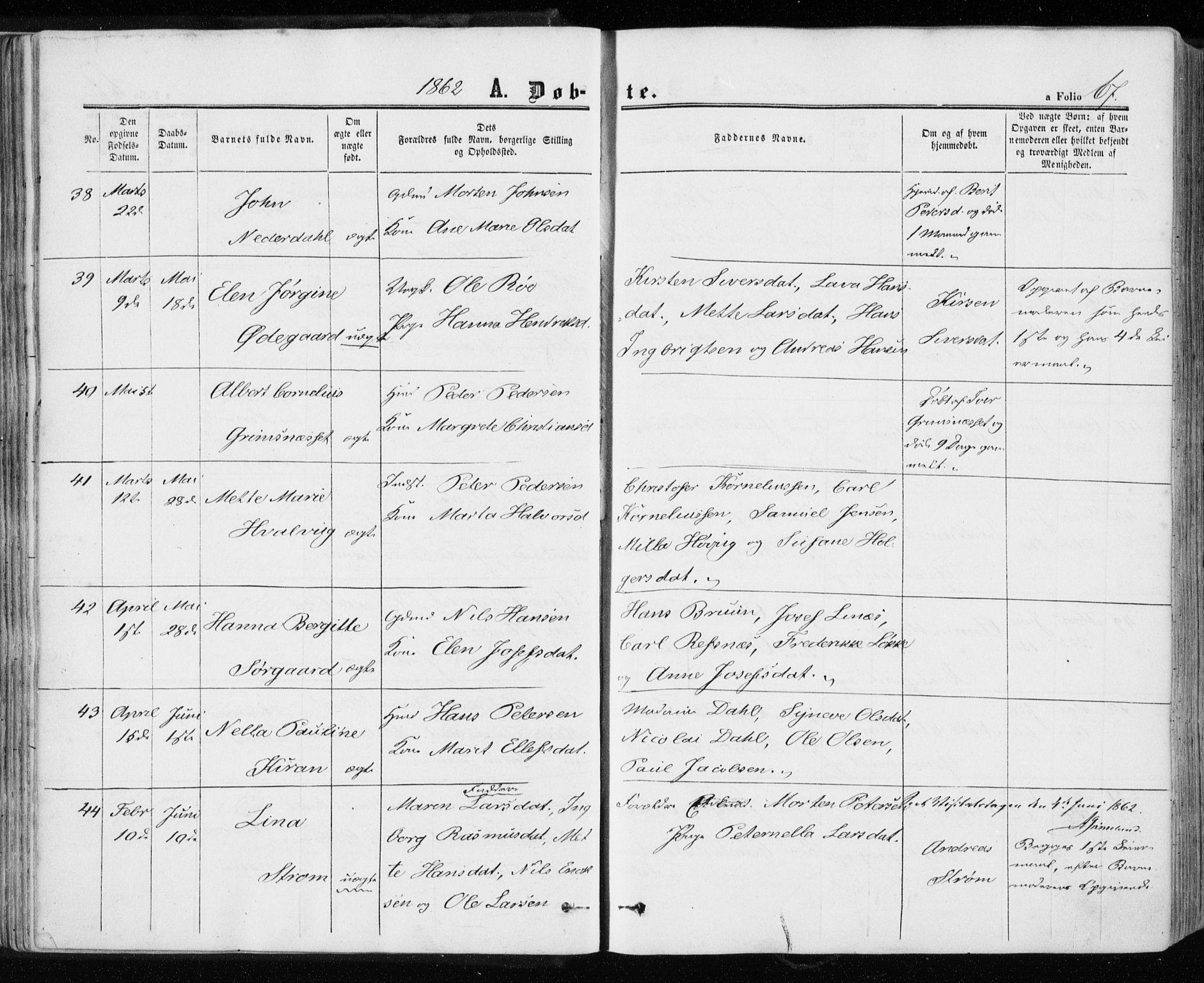 SAT, Ministerialprotokoller, klokkerbøker og fødselsregistre - Sør-Trøndelag, 657/L0705: Ministerialbok nr. 657A06, 1858-1867, s. 67