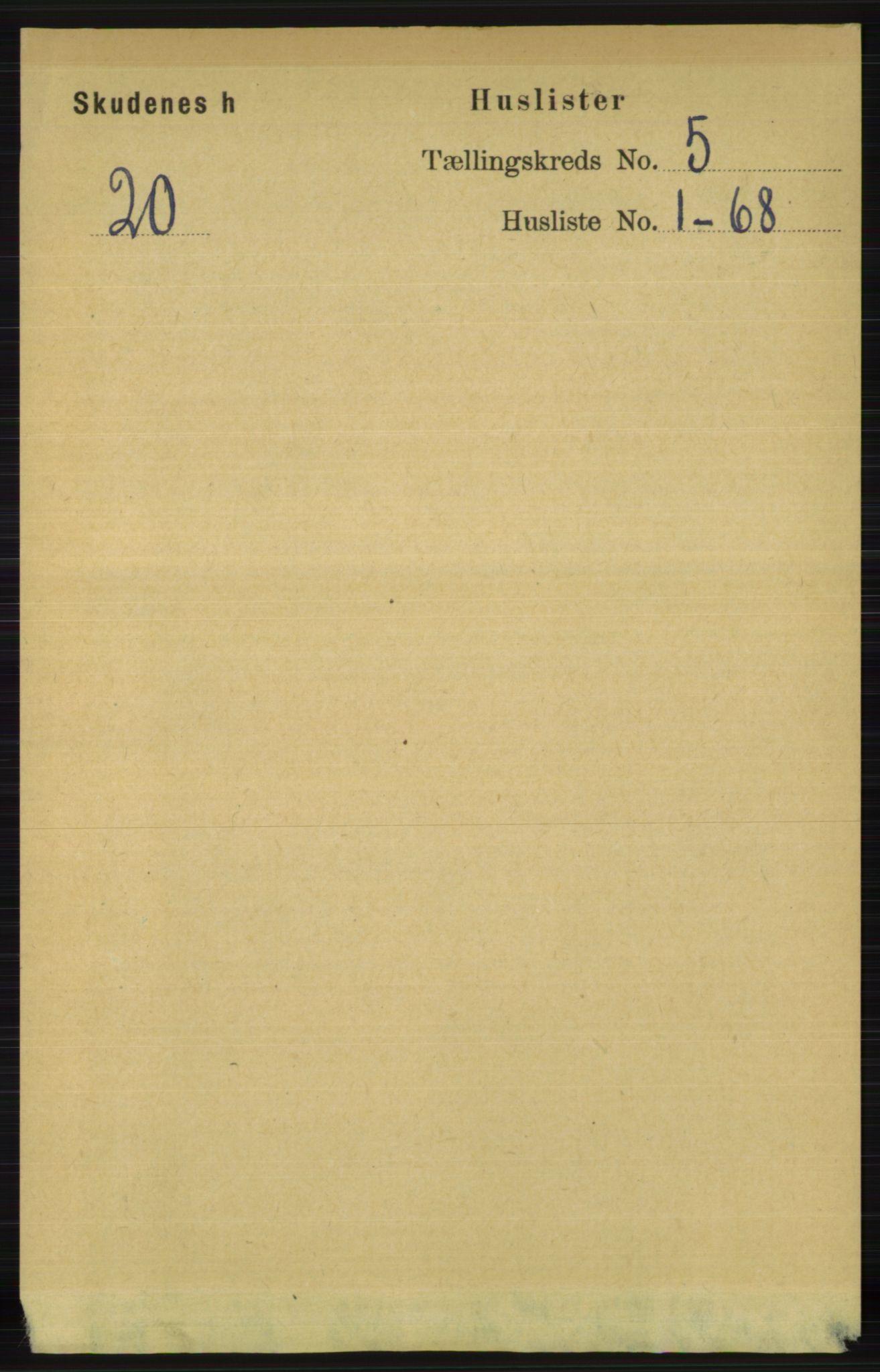 RA, Folketelling 1891 for 1150 Skudenes herred, 1891, s. 2454