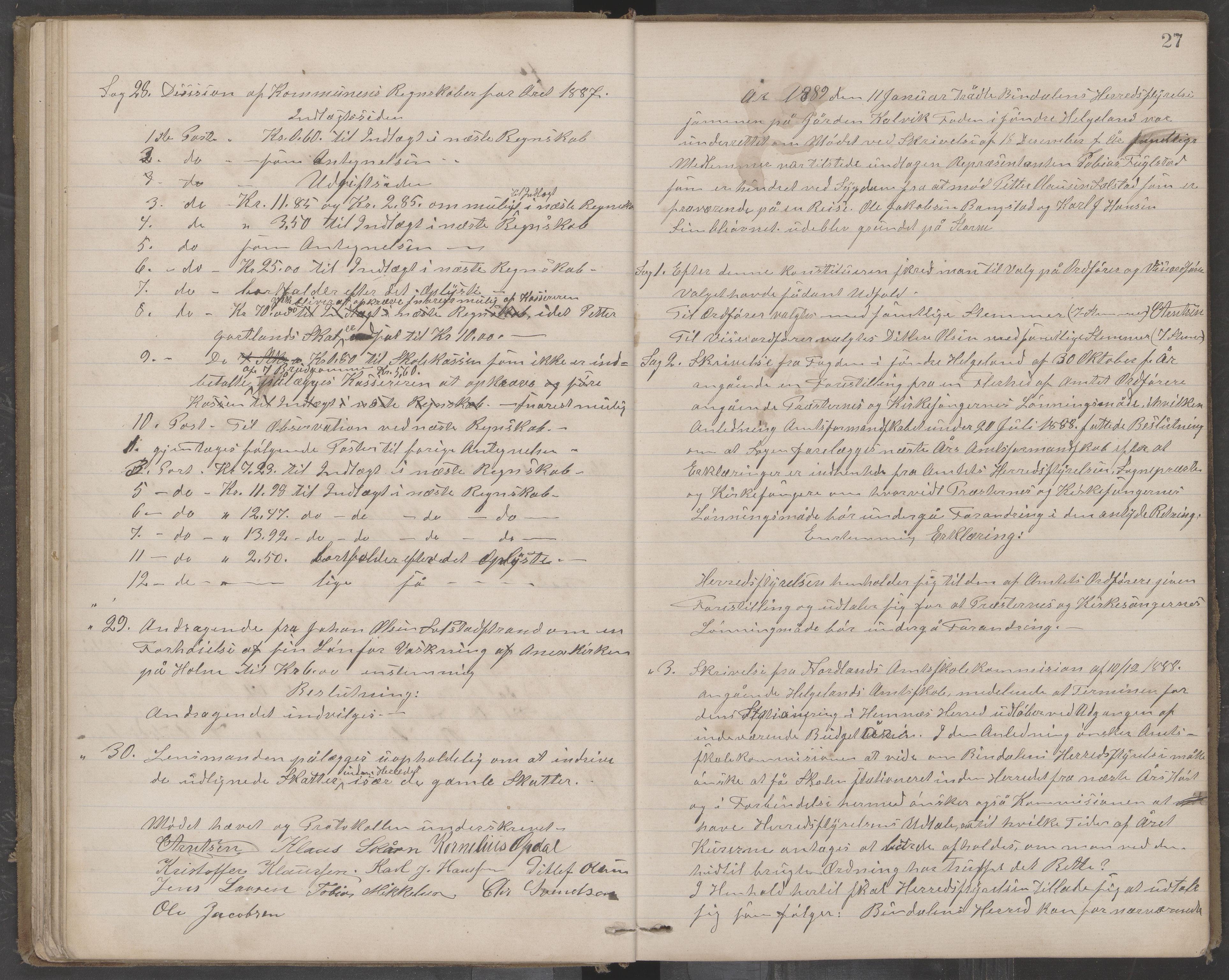 AIN, Bindal kommune. Formannskapet, A/Aa/L0000c: Møtebok, 1885-1897, s. 27