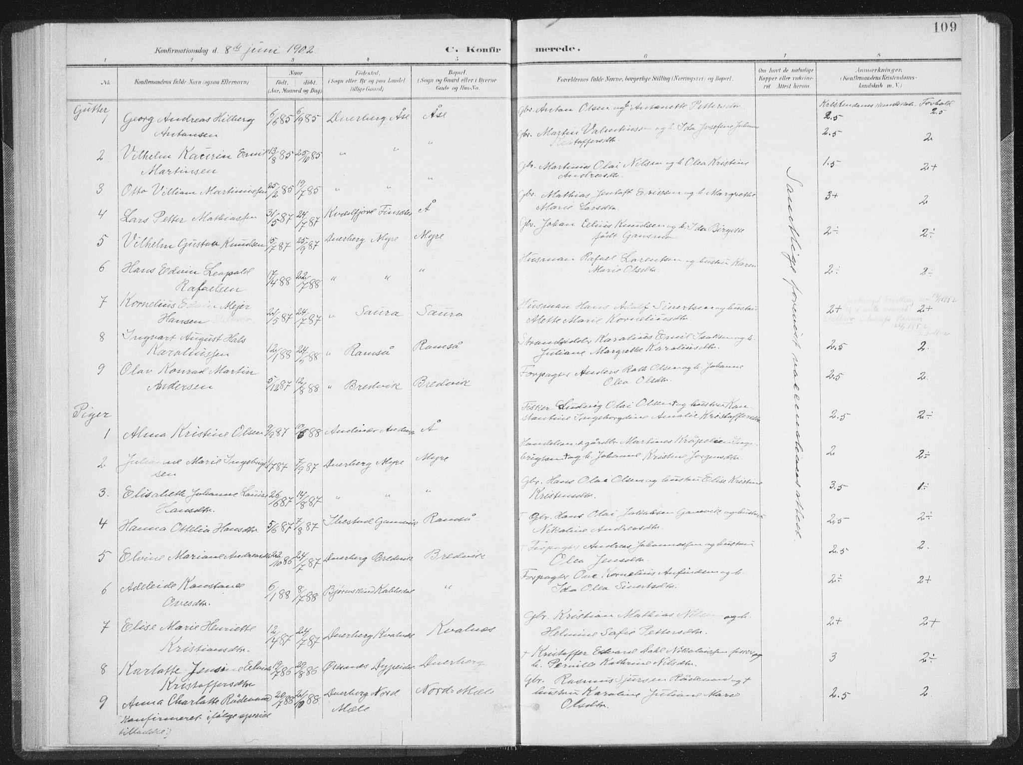 SAT, Ministerialprotokoller, klokkerbøker og fødselsregistre - Nordland, 897/L1400: Ministerialbok nr. 897A07, 1897-1908, s. 109