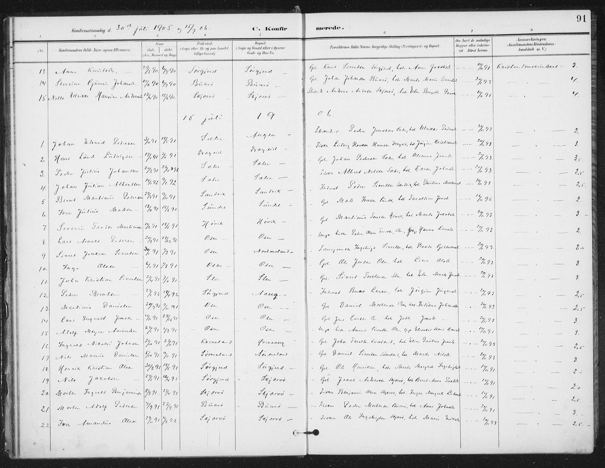 SAT, Ministerialprotokoller, klokkerbøker og fødselsregistre - Sør-Trøndelag, 658/L0723: Ministerialbok nr. 658A02, 1897-1912, s. 91