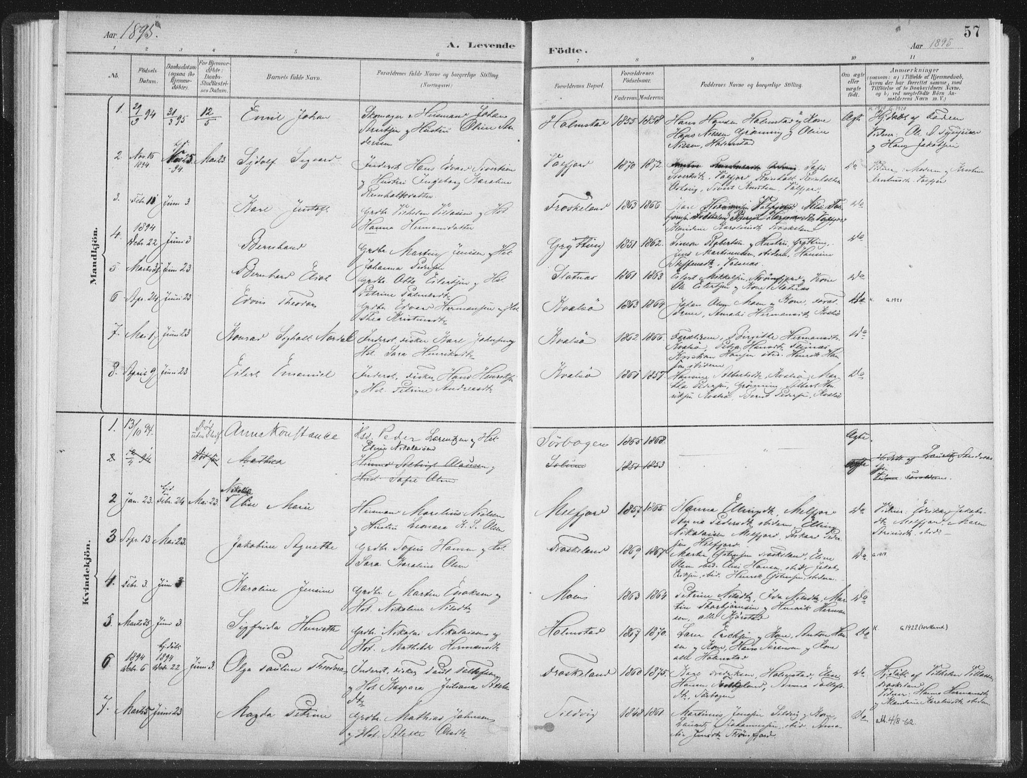SAT, Ministerialprotokoller, klokkerbøker og fødselsregistre - Nordland, 890/L1286: Ministerialbok nr. 890A01, 1882-1902, s. 57