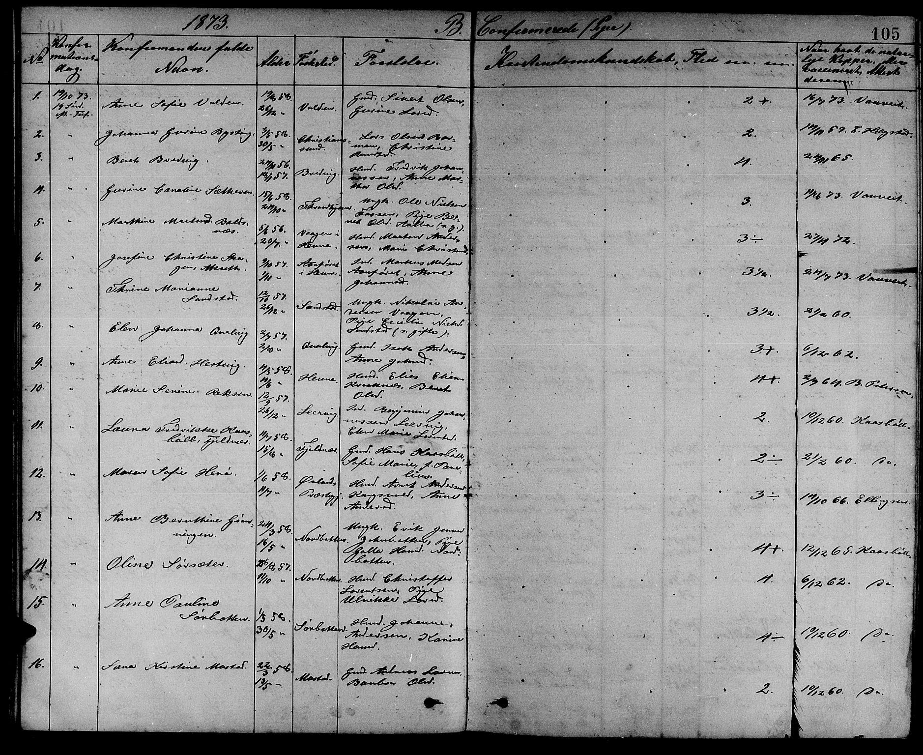 SAT, Ministerialprotokoller, klokkerbøker og fødselsregistre - Sør-Trøndelag, 637/L0561: Klokkerbok nr. 637C02, 1873-1882, s. 105