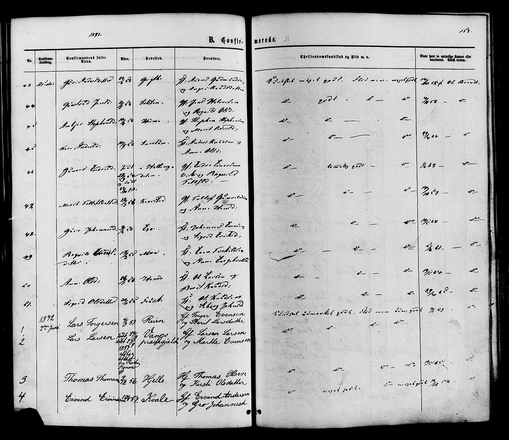 SAH, Vestre Slidre prestekontor, Ministerialbok nr. 3, 1865-1880, s. 153
