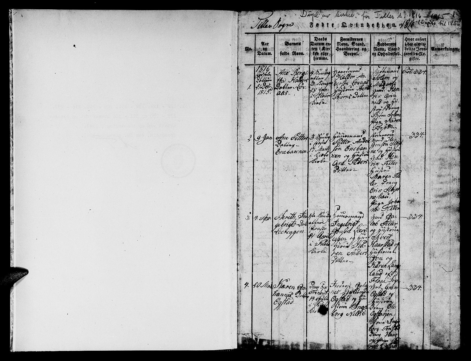 SAT, Ministerialprotokoller, klokkerbøker og fødselsregistre - Sør-Trøndelag, 621/L0458: Klokkerbok nr. 621C01, 1816-1865, s. 1