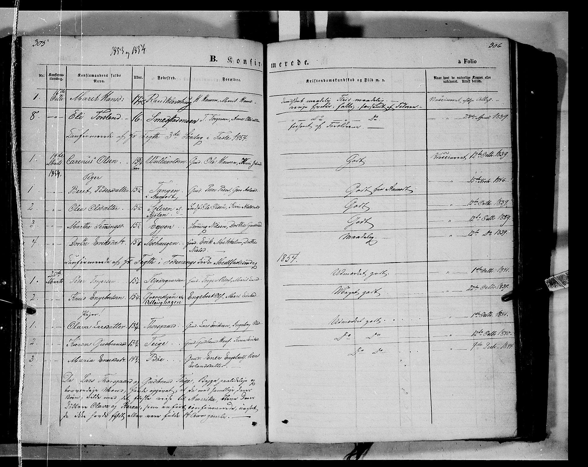 SAH, Ringebu prestekontor, Ministerialbok nr. 6, 1848-1859, s. 305-306