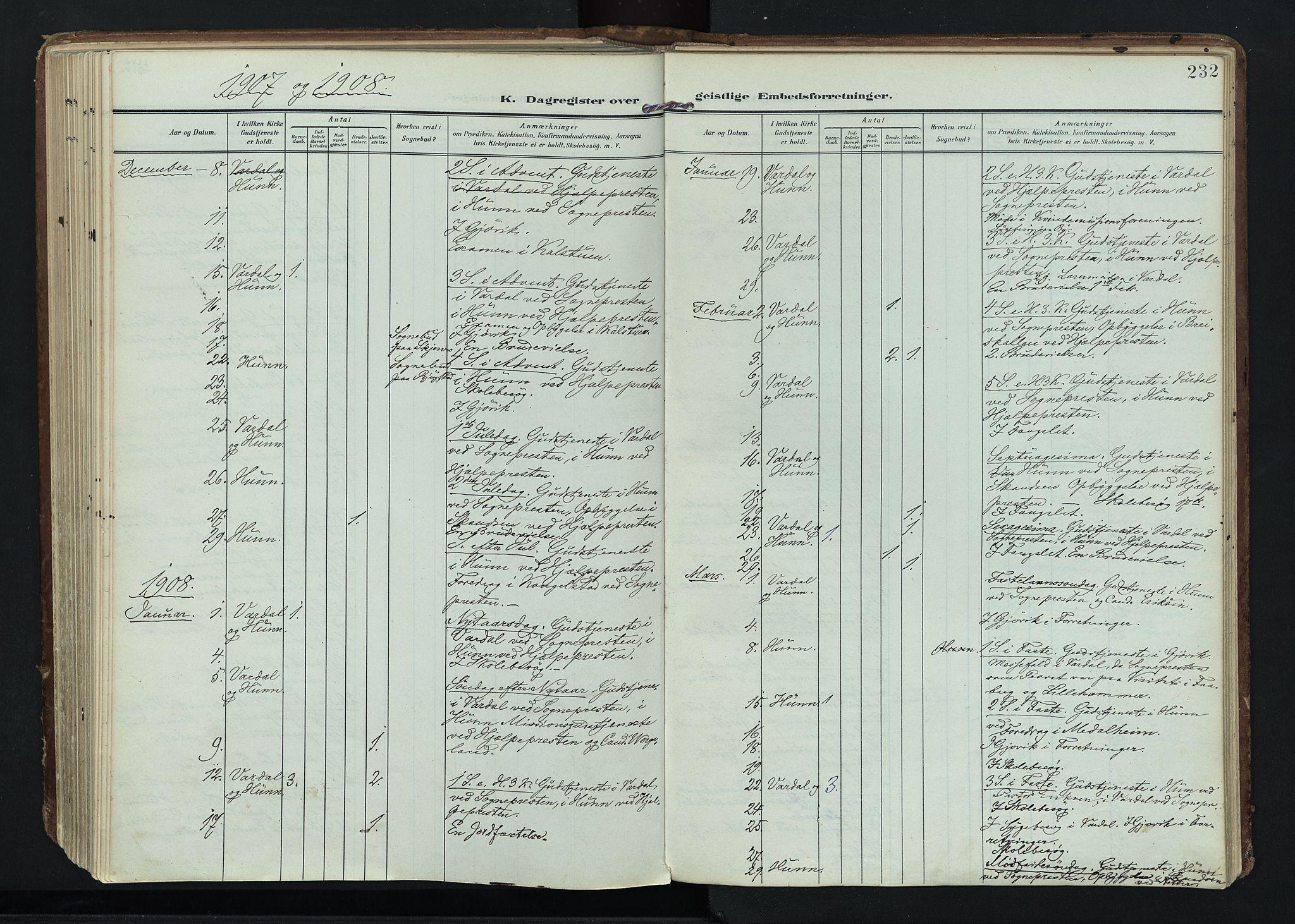 SAH, Vardal prestekontor, H/Ha/Haa/L0020: Ministerialbok nr. 20, 1907-1921, s. 232