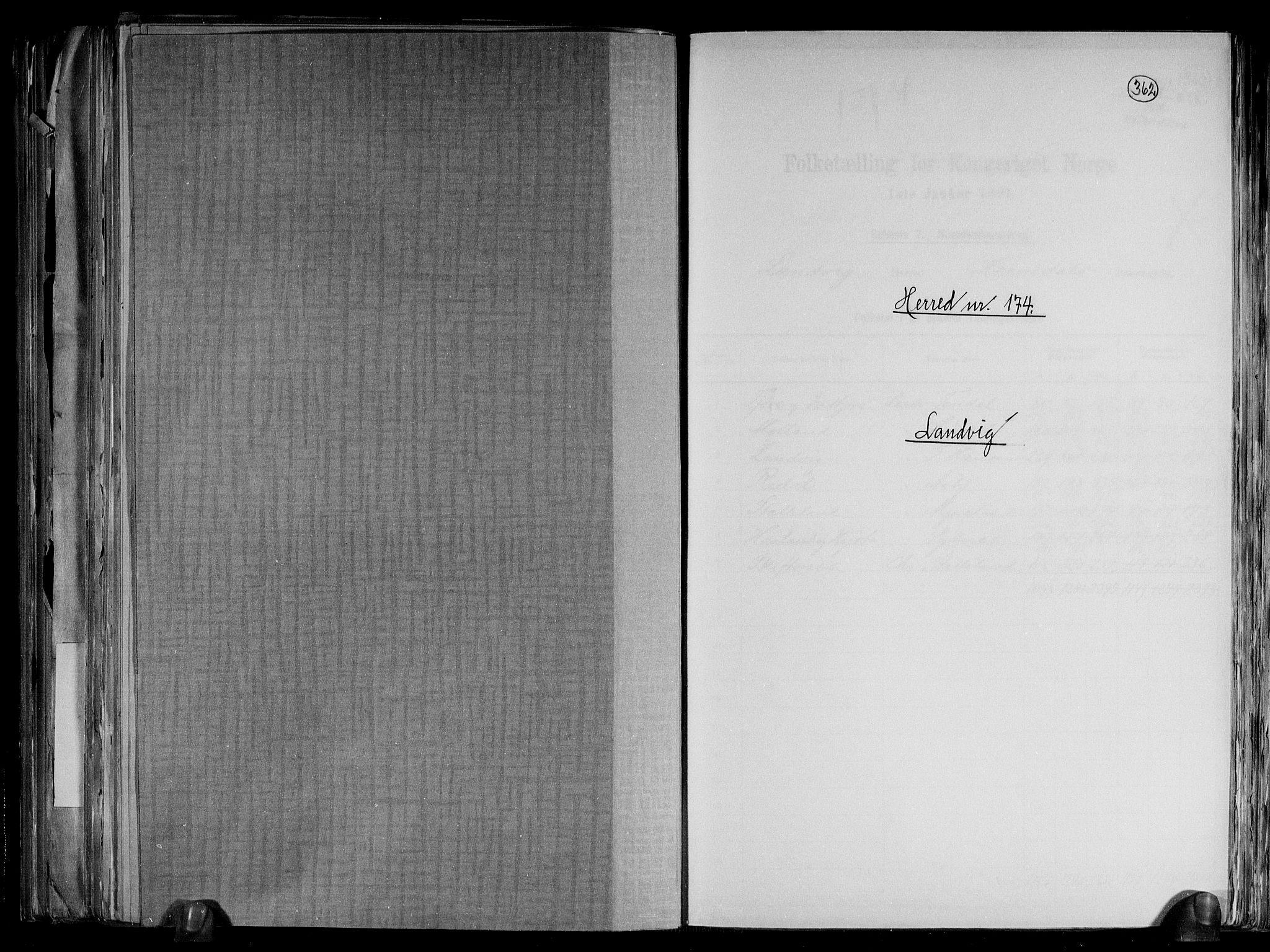 RA, Folketelling 1891 for 0924 Landvik herred, 1891, s. 1