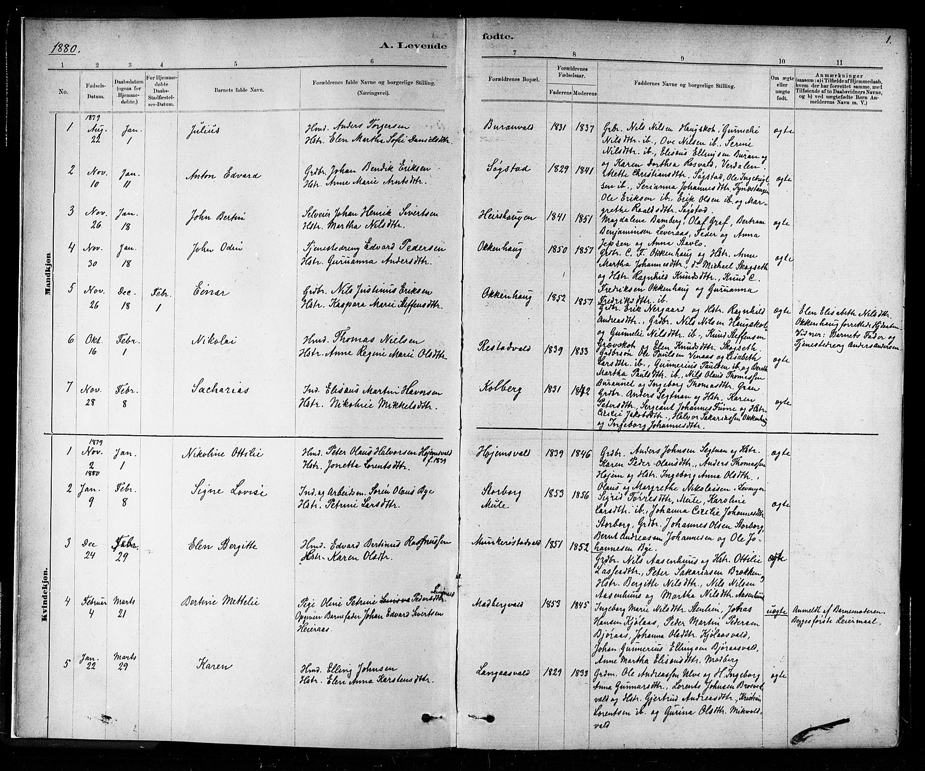 SAT, Ministerialprotokoller, klokkerbøker og fødselsregistre - Nord-Trøndelag, 721/L0208: Klokkerbok nr. 721C01, 1880-1917, s. 1