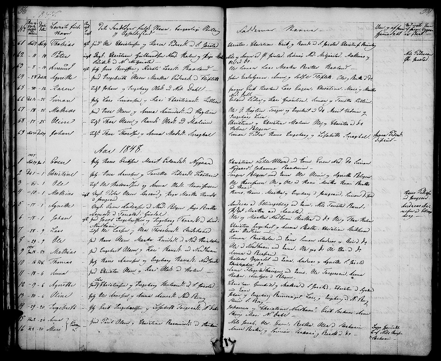 SAH, Fåberg prestekontor, Klokkerbok nr. 5, 1837-1864, s. 56-57