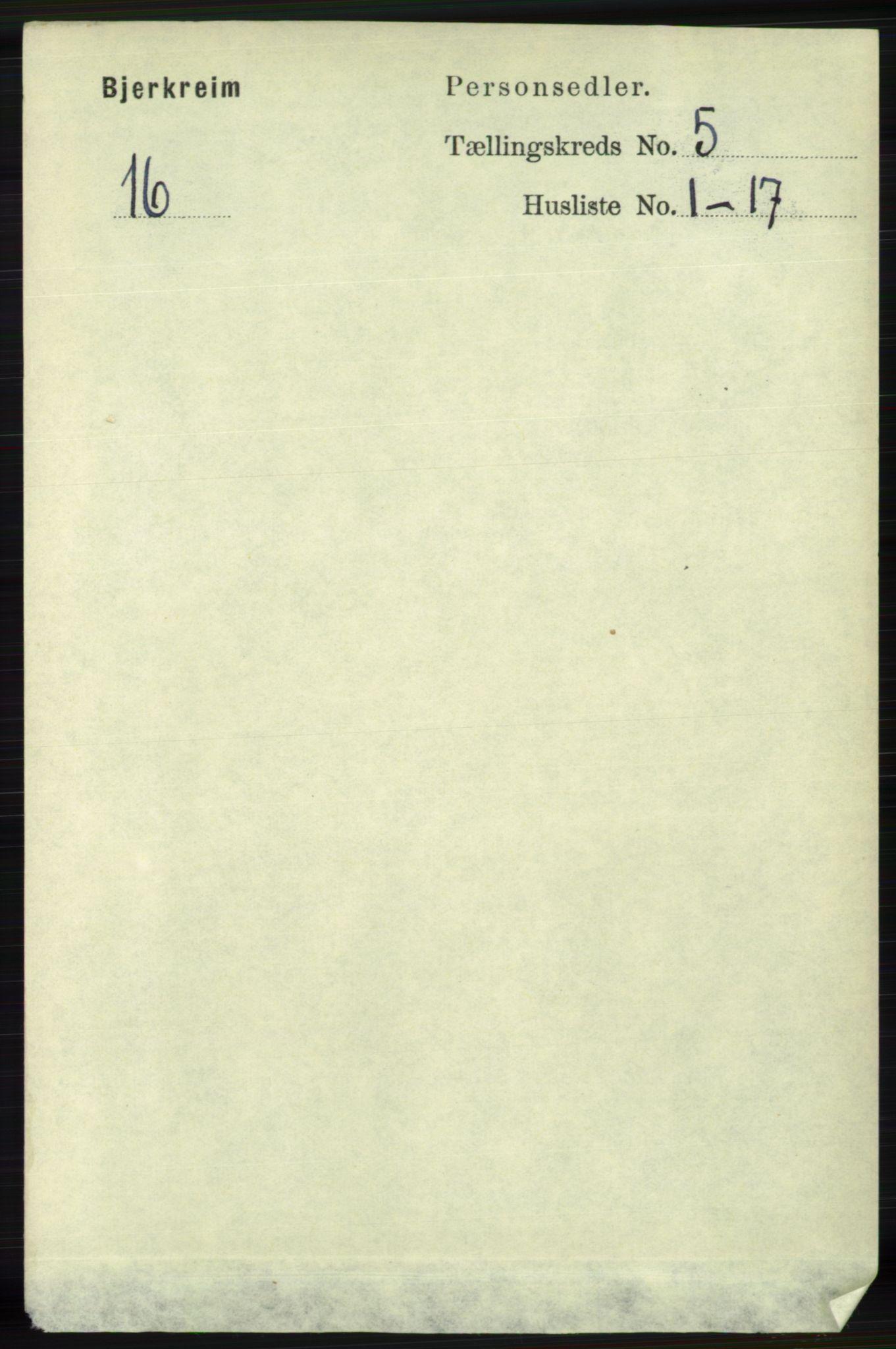 RA, Folketelling 1891 for 1114 Bjerkreim herred, 1891, s. 1693