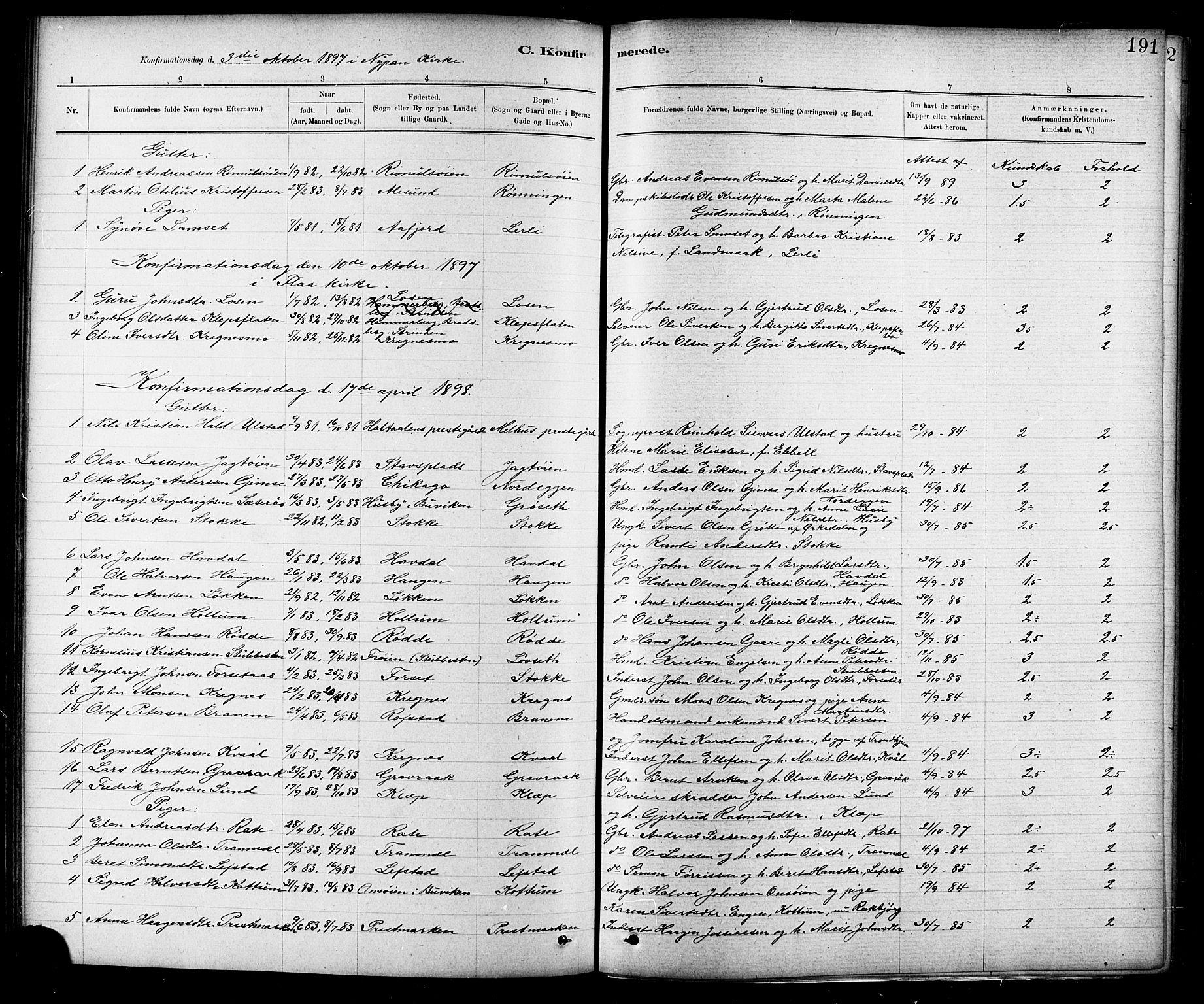 SAT, Ministerialprotokoller, klokkerbøker og fødselsregistre - Sør-Trøndelag, 691/L1094: Klokkerbok nr. 691C05, 1879-1911, s. 191