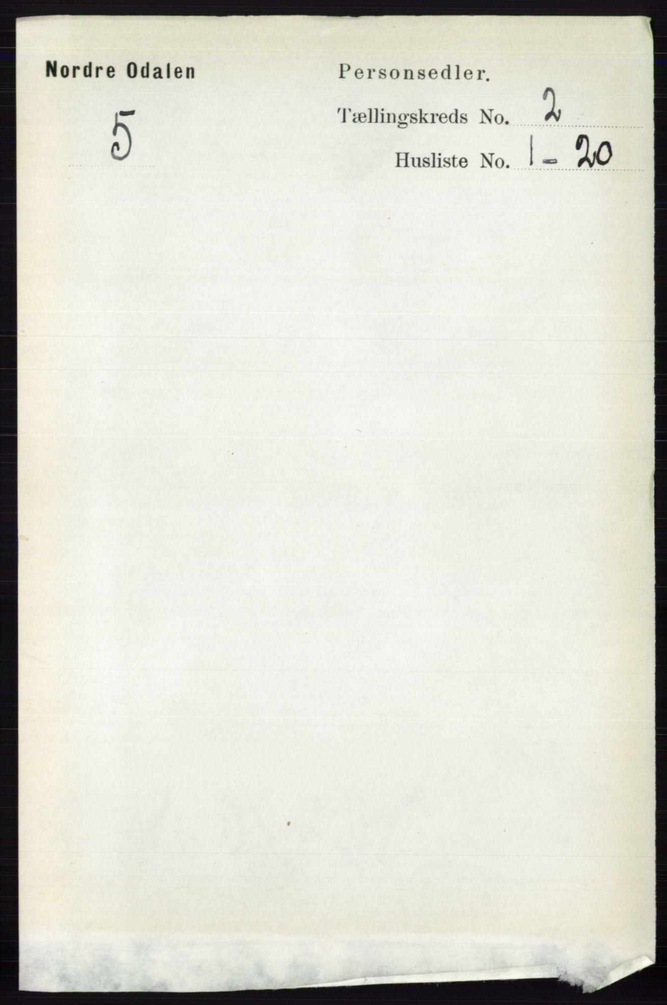 RA, Folketelling 1891 for 0418 Nord-Odal herred, 1891, s. 431