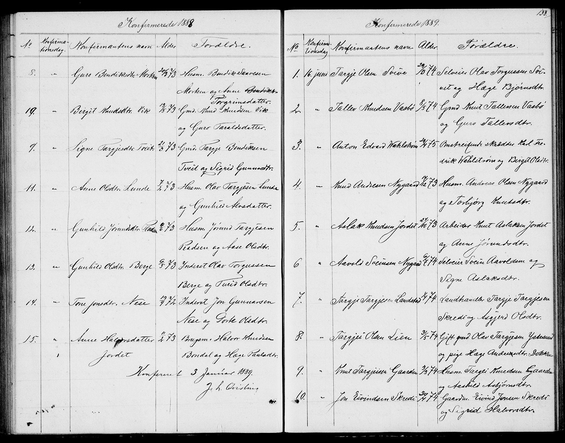 SAKO, Fyresdal kirkebøker, G/Ga/L0004: Klokkerbok nr. I 4, 1864-1892, s. 133